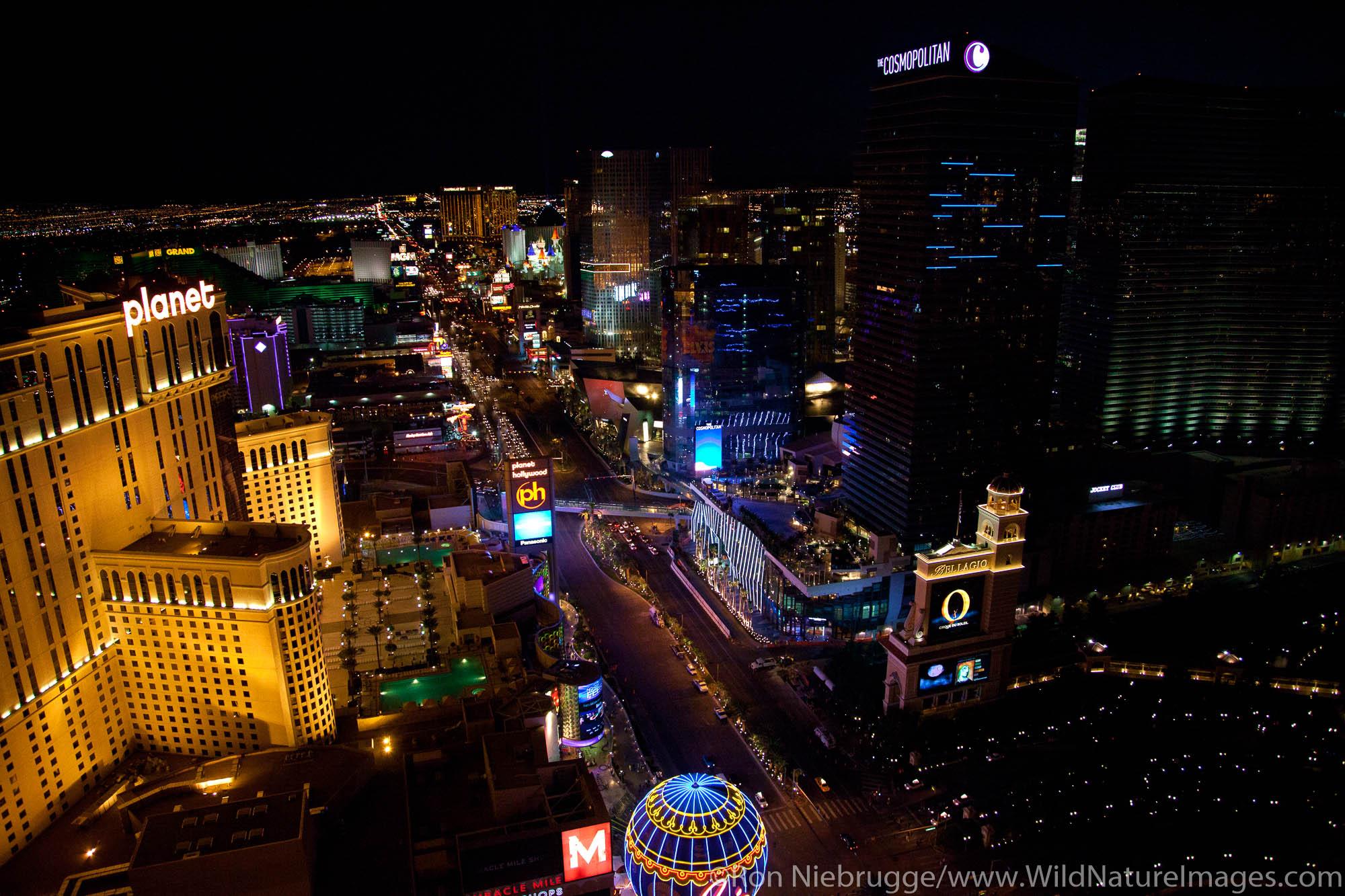 Aerial view of Las Vegas strip at night, Las Vegas, Nevada