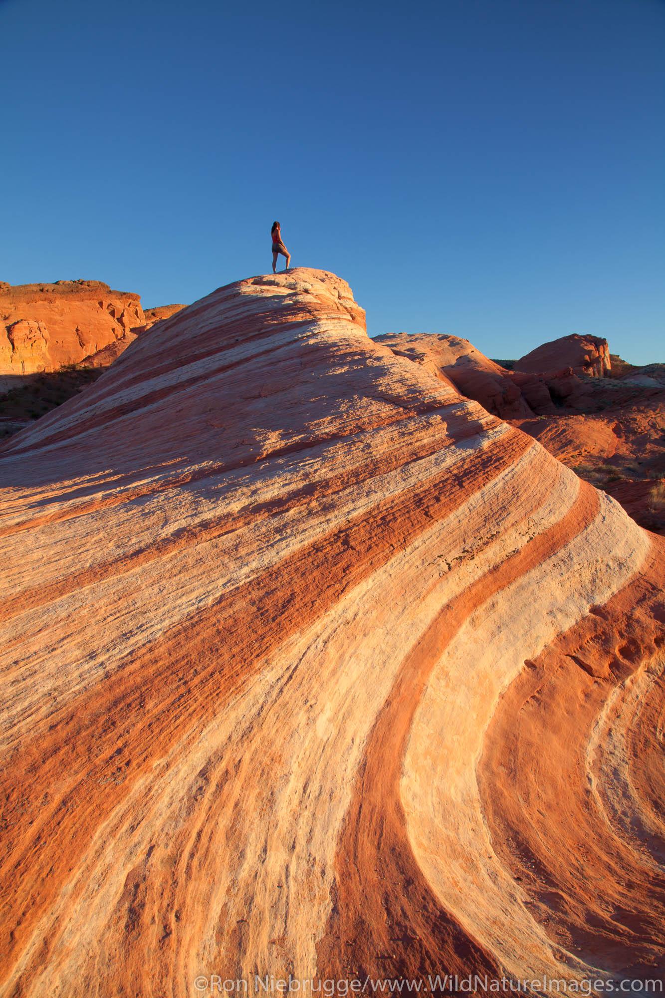 Hiker in Valley of Fire State Park, Mojave Desert, Nevada (model released)