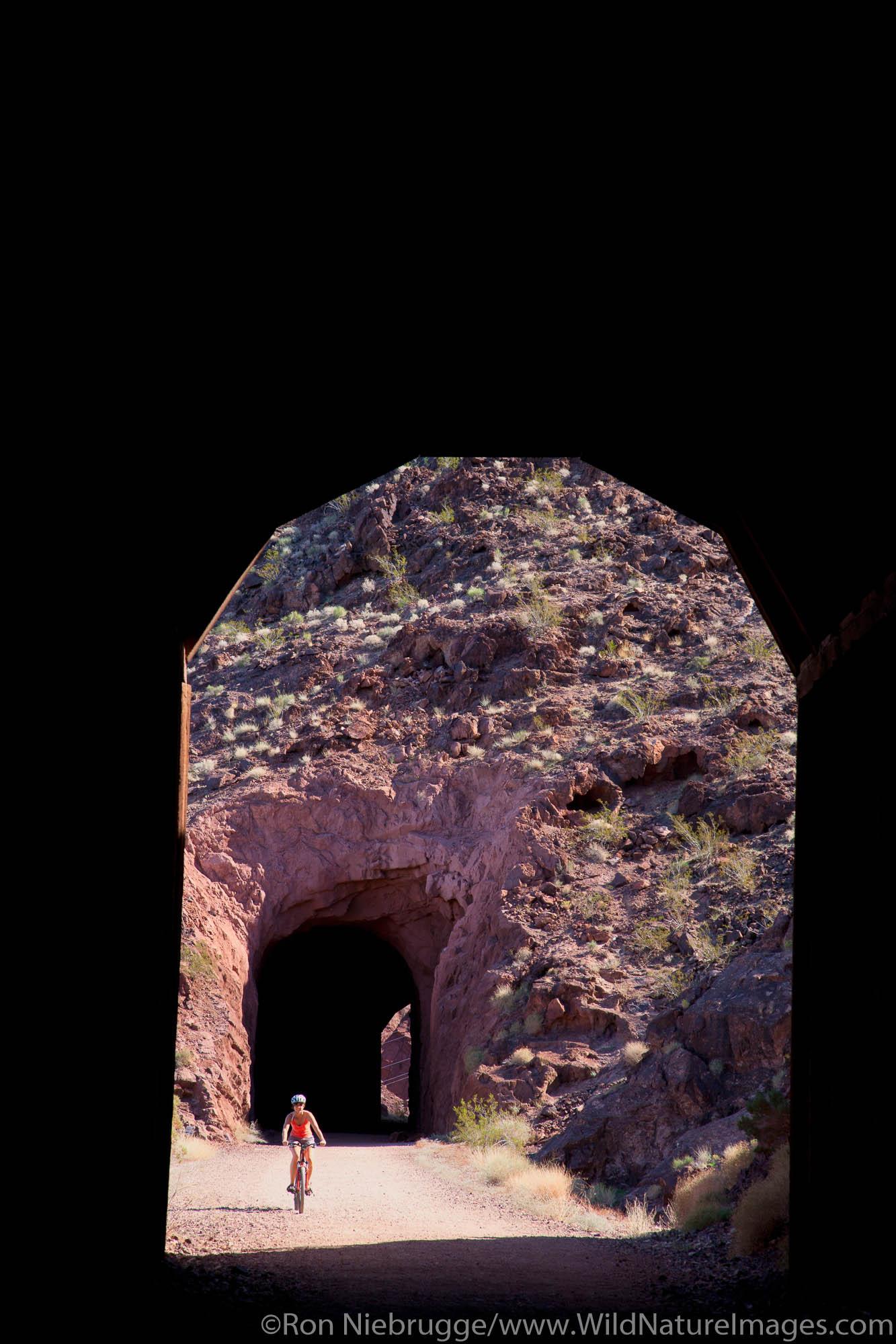 Biking  the  Railroad Tunnel Trail, Lake Mead National Recreation Area, Nevada (model released)