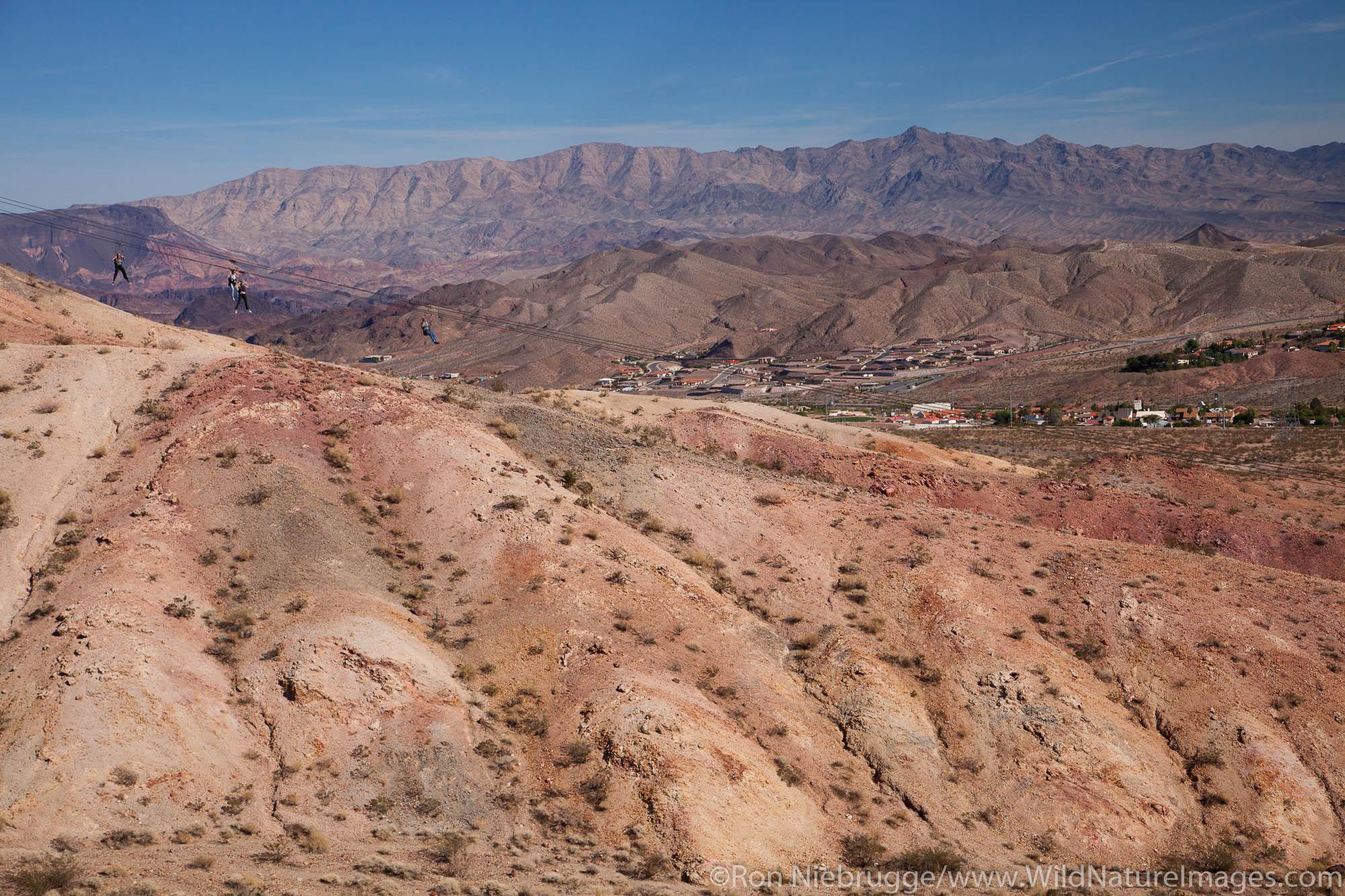 Visitors zip-lline at Bootleg Canyon, Boulder City, Nevada