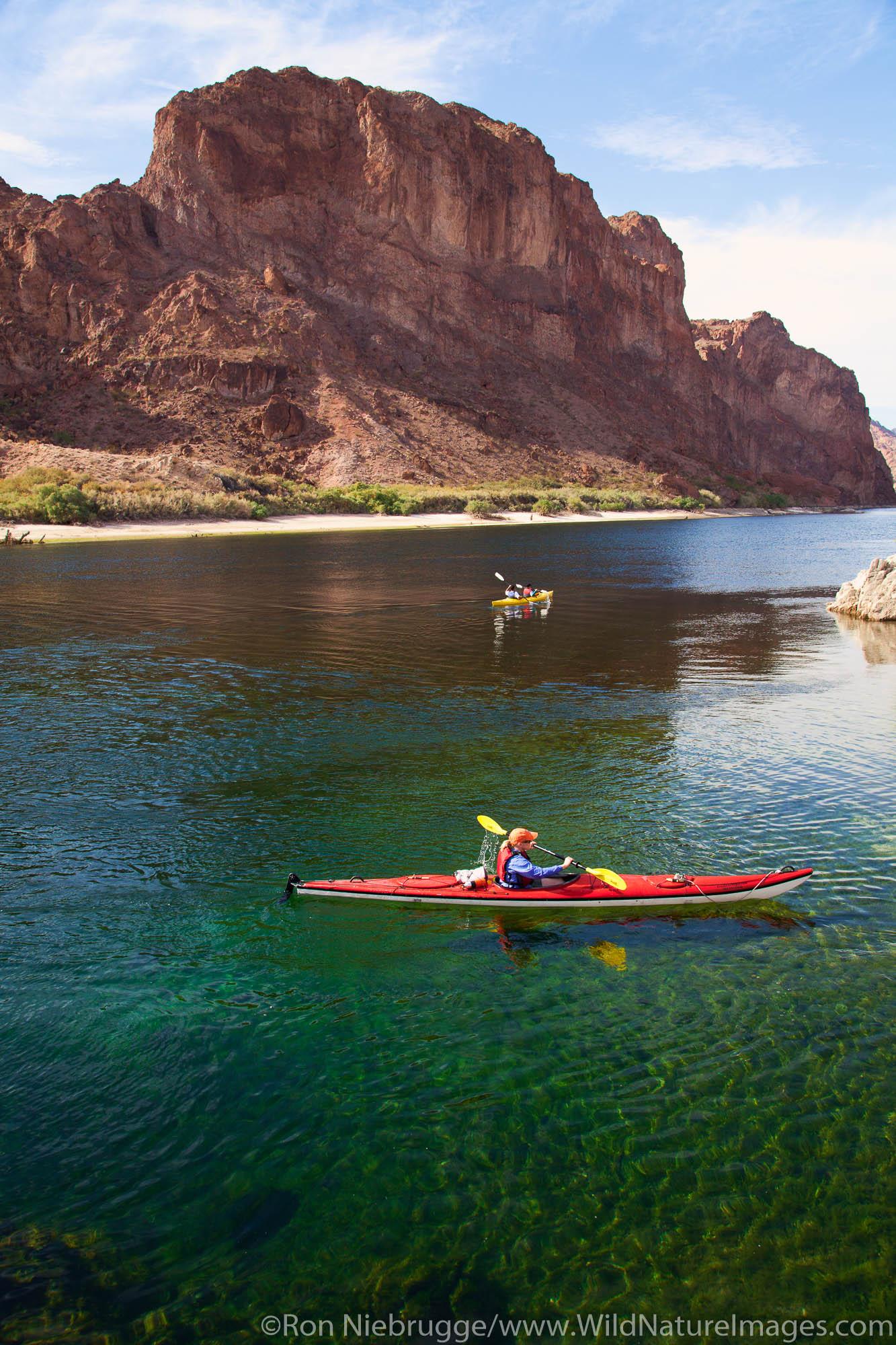 Kayking Black Canyon on the Colorado River, Mojave Desert.