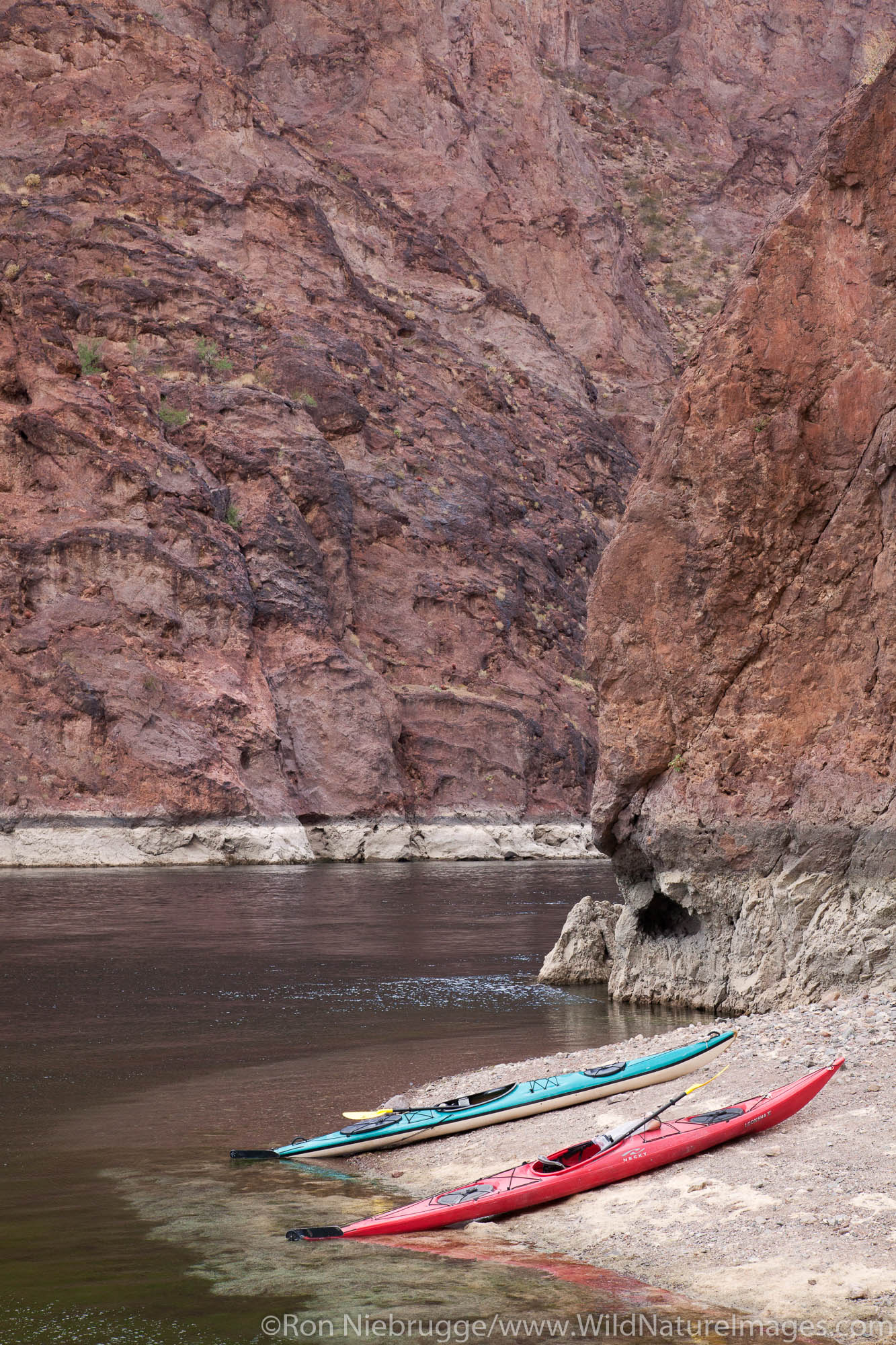 Kayaking in Black Canyon area of the Colorado River, Mojave Desert.