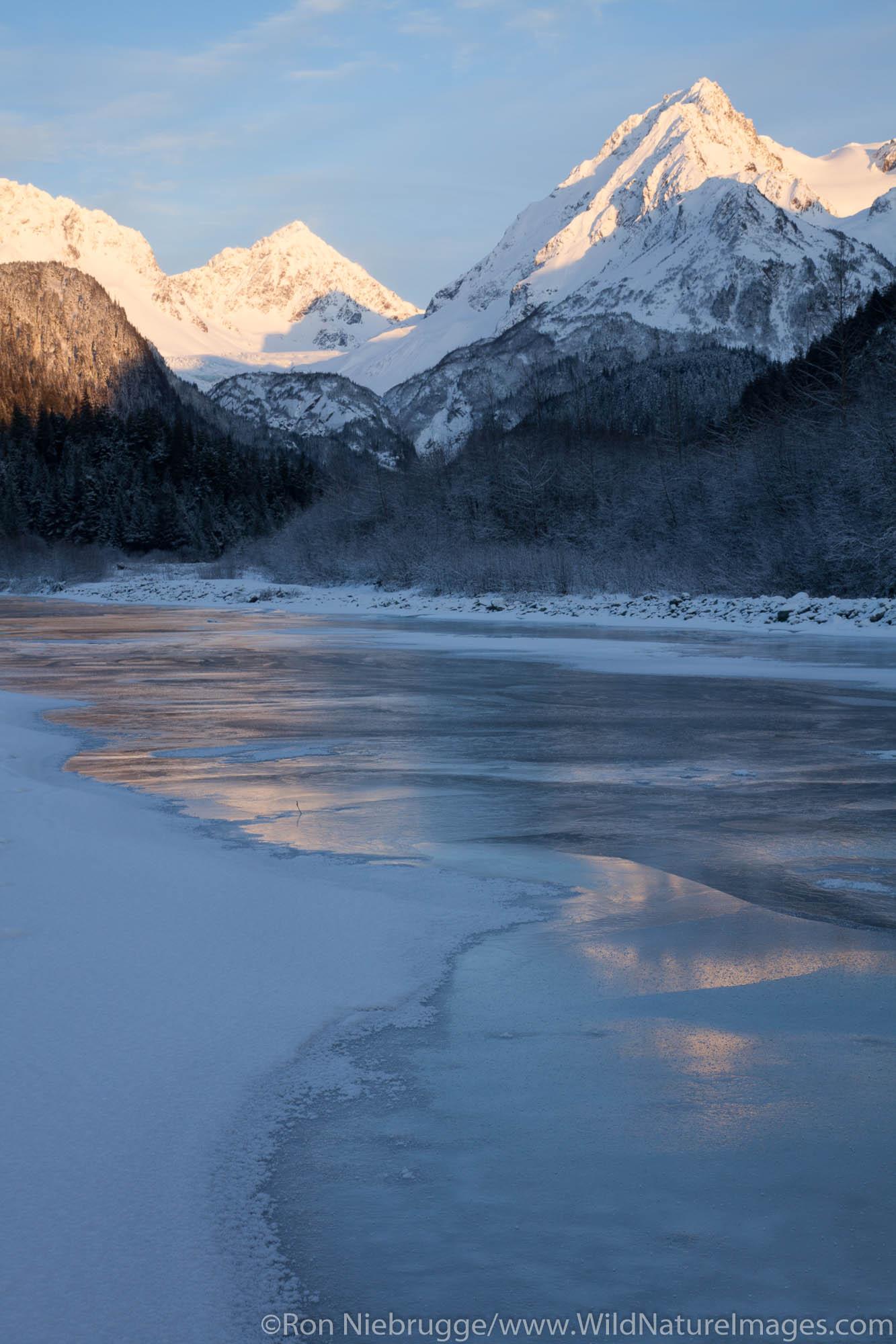 Winter in the Chugach National Forest, along Fourth of July Creek, Seward, Alaska.