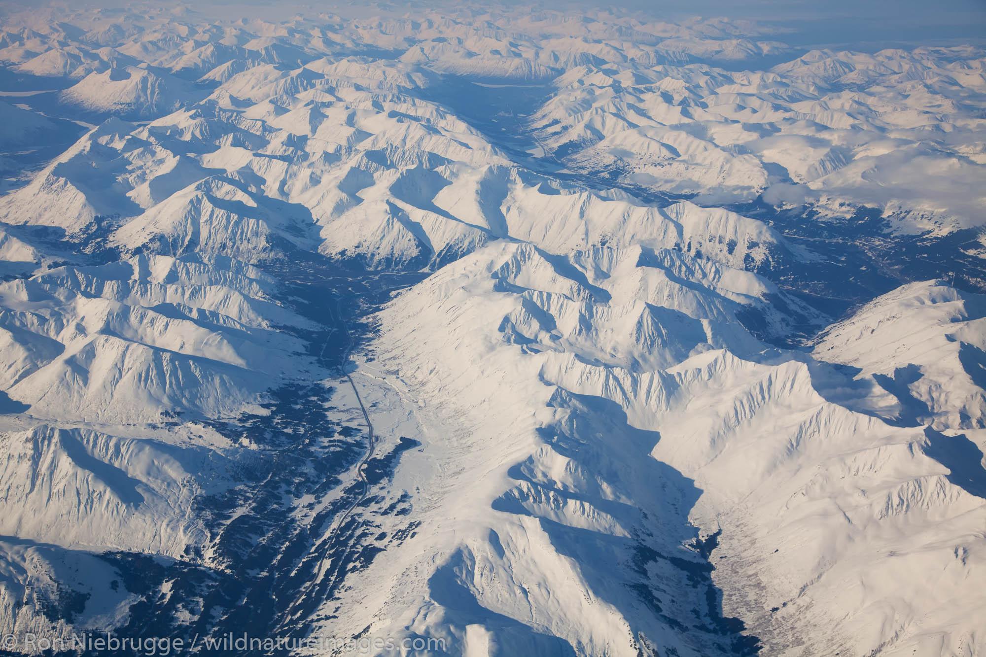 Aerial over Chugach National Forest, Alaska.
