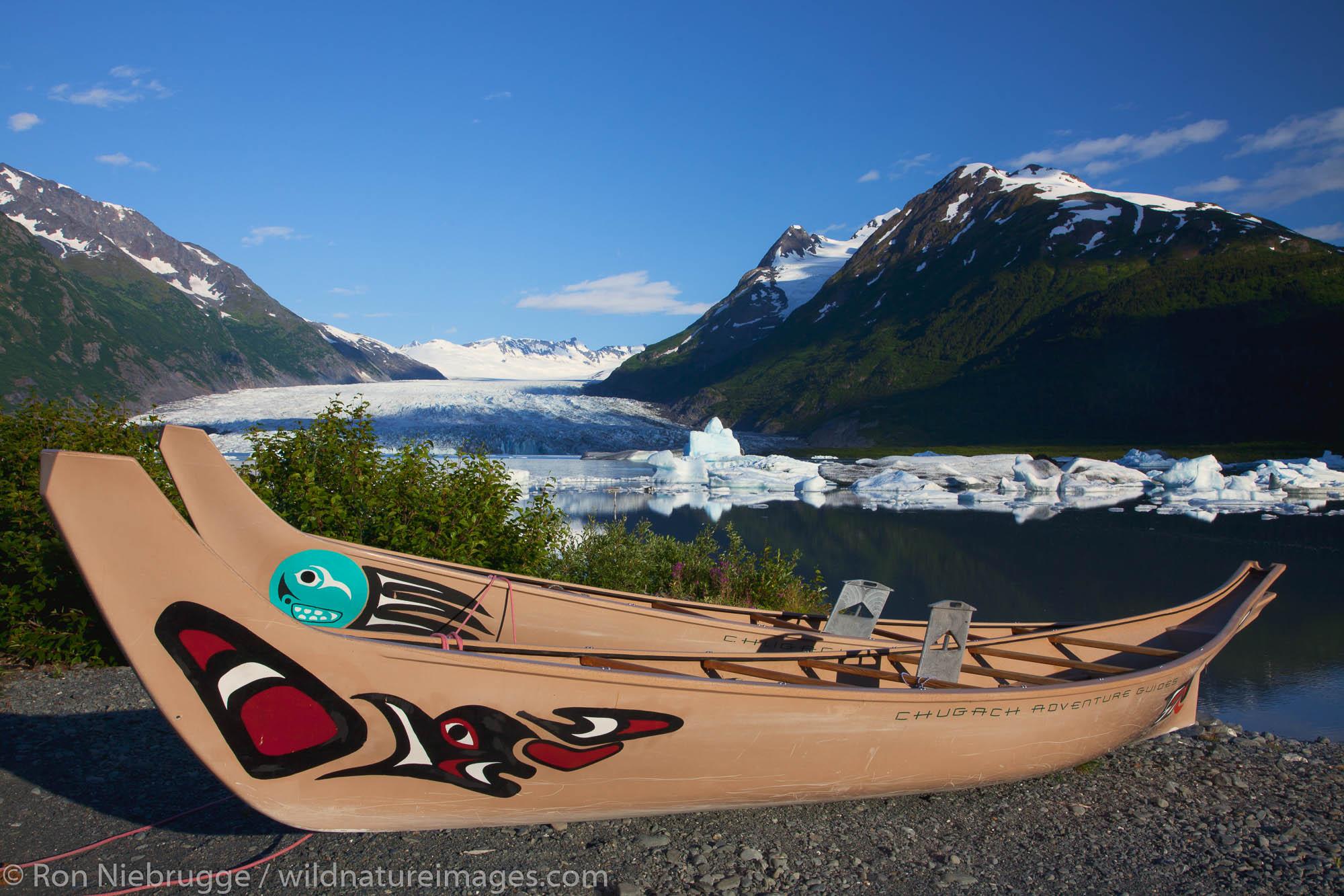 Canoes at Spencer Glacier, Chugach National Forest, Alaska.