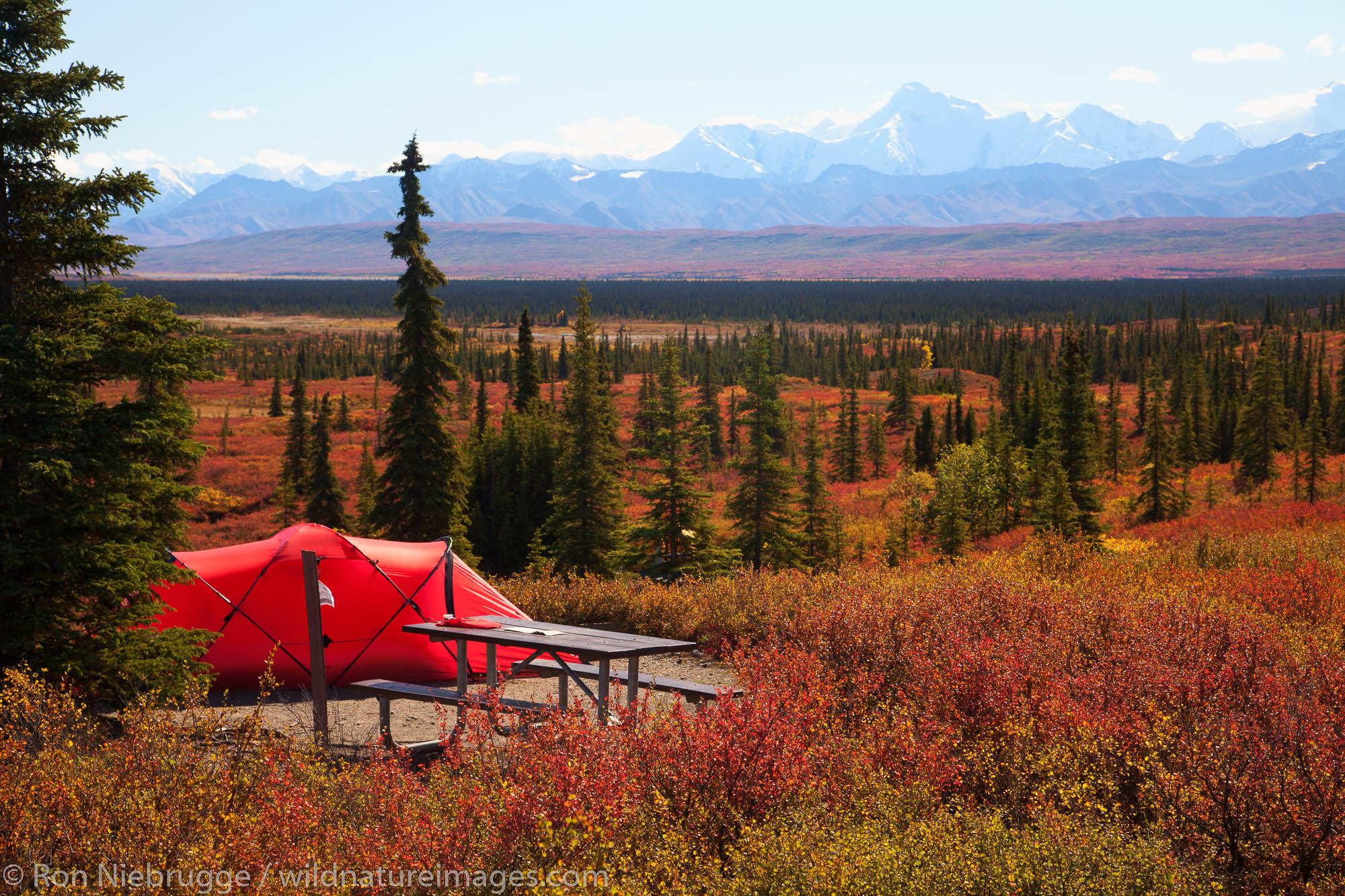 Tents at the Wonder Lake Campground, Denali National Park, Alaska.