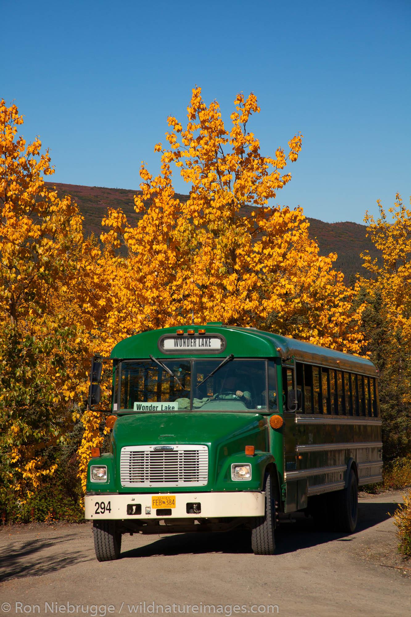 Camper Bus at the Wonder Lake campground, Denali National Park, Alaska.