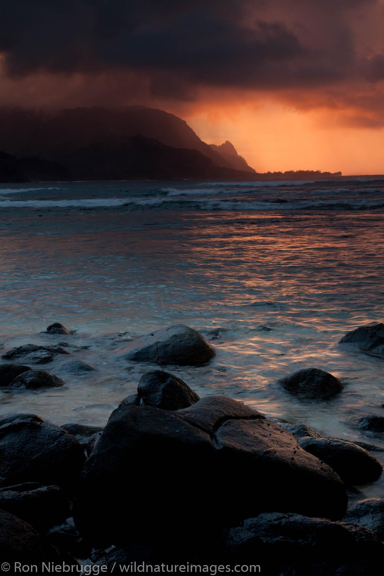 Sunset Hanalei Bay, Looking towards the Na Pali Coast from Hanalei Bay, Kauai, Hawaii.