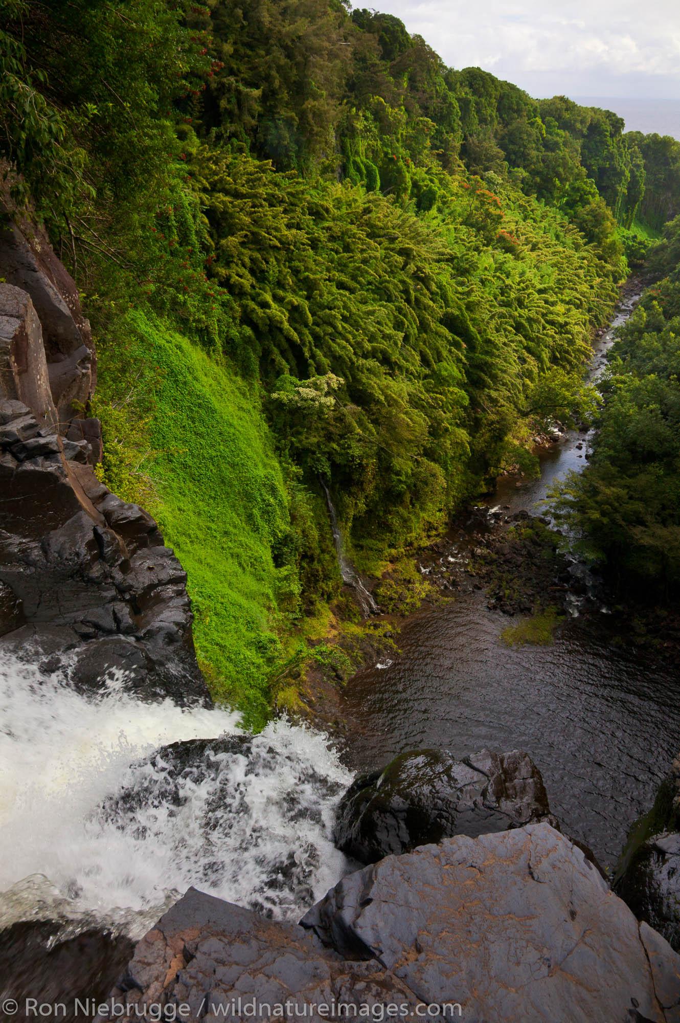 Makahiku Falls along the Pipiwai Trail above the Ohe'o Gulch - aka Seven Sacred Pools, Haleakala National Park, near Hana, Maui...