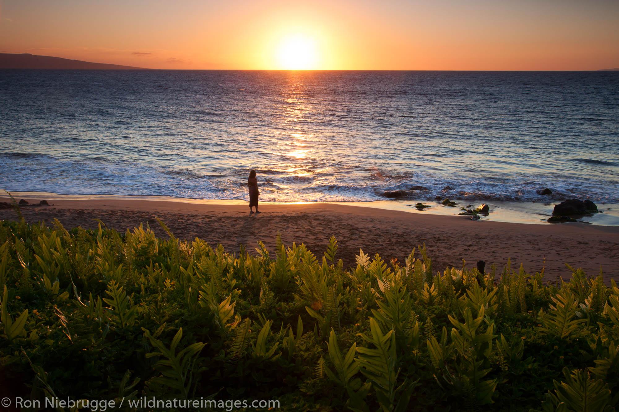 A visitor at Ulua Beach, Wailea, Maui, Hawaii.  (model released)