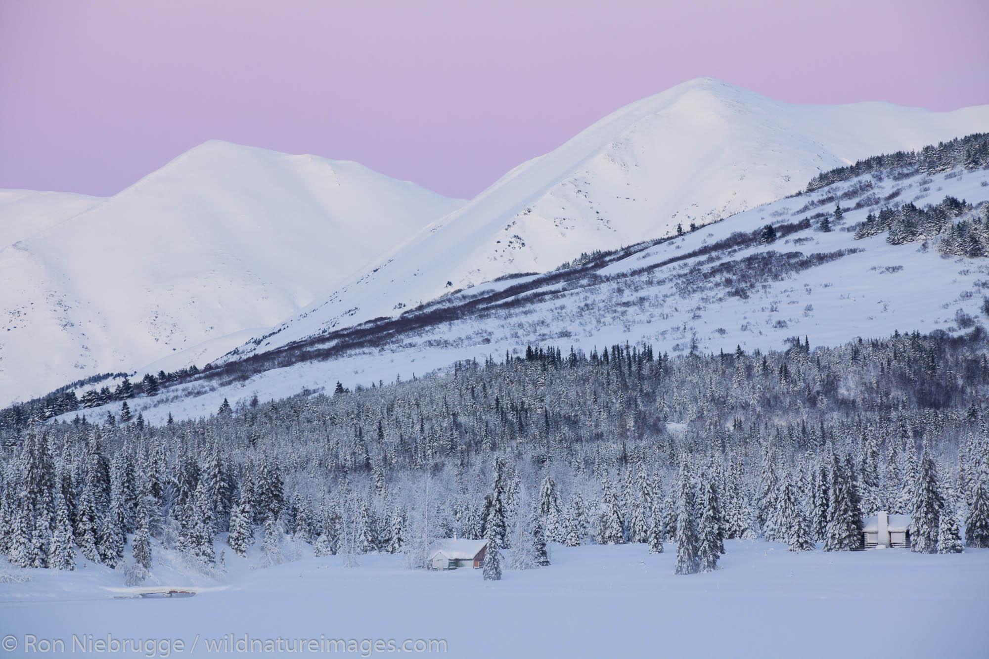 Cabins on Lower Summit Lake, Chugach National Forest, Alaska.