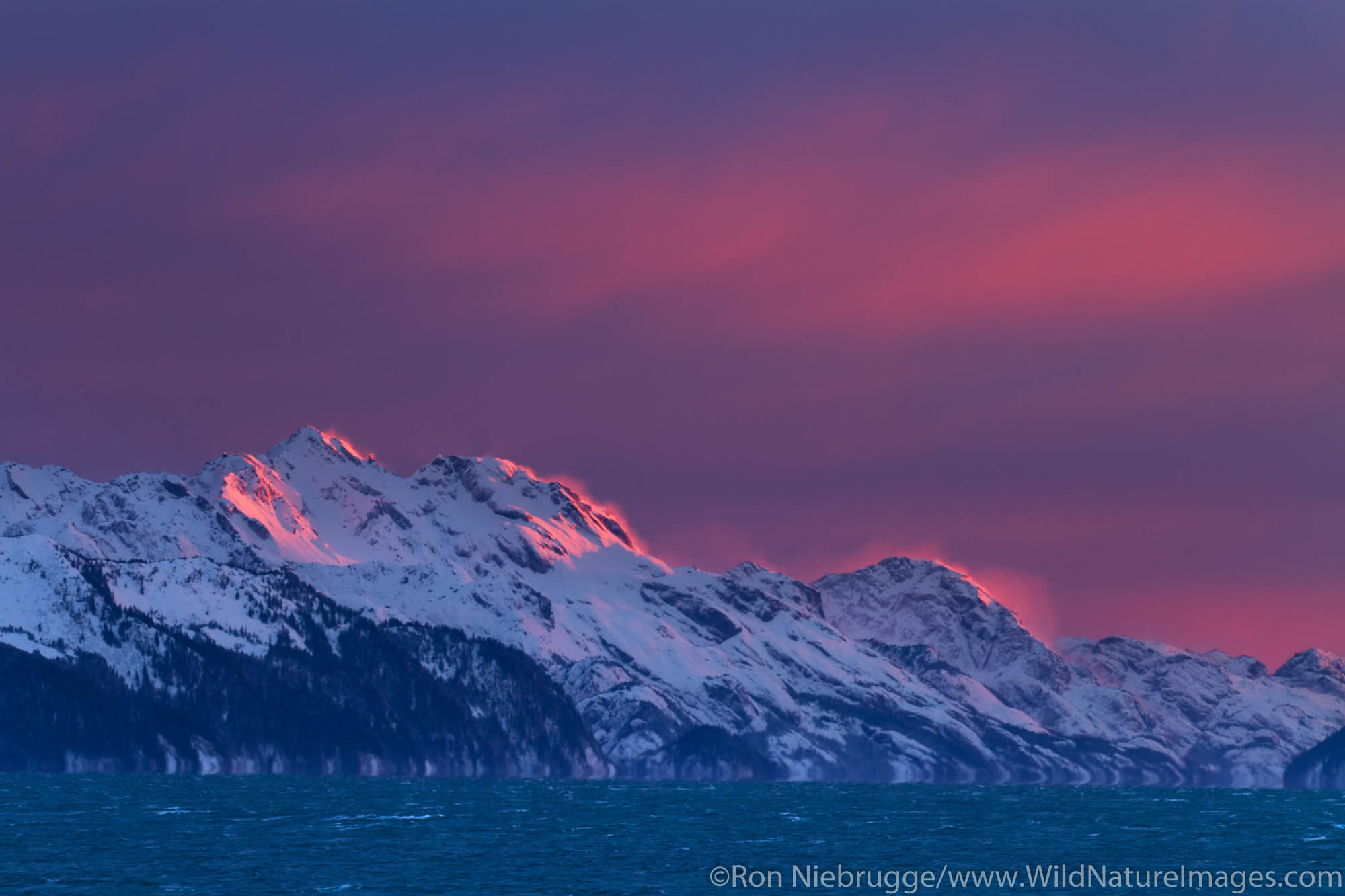 Winter sunset on Resurrection Bay, Seward, Alaska.