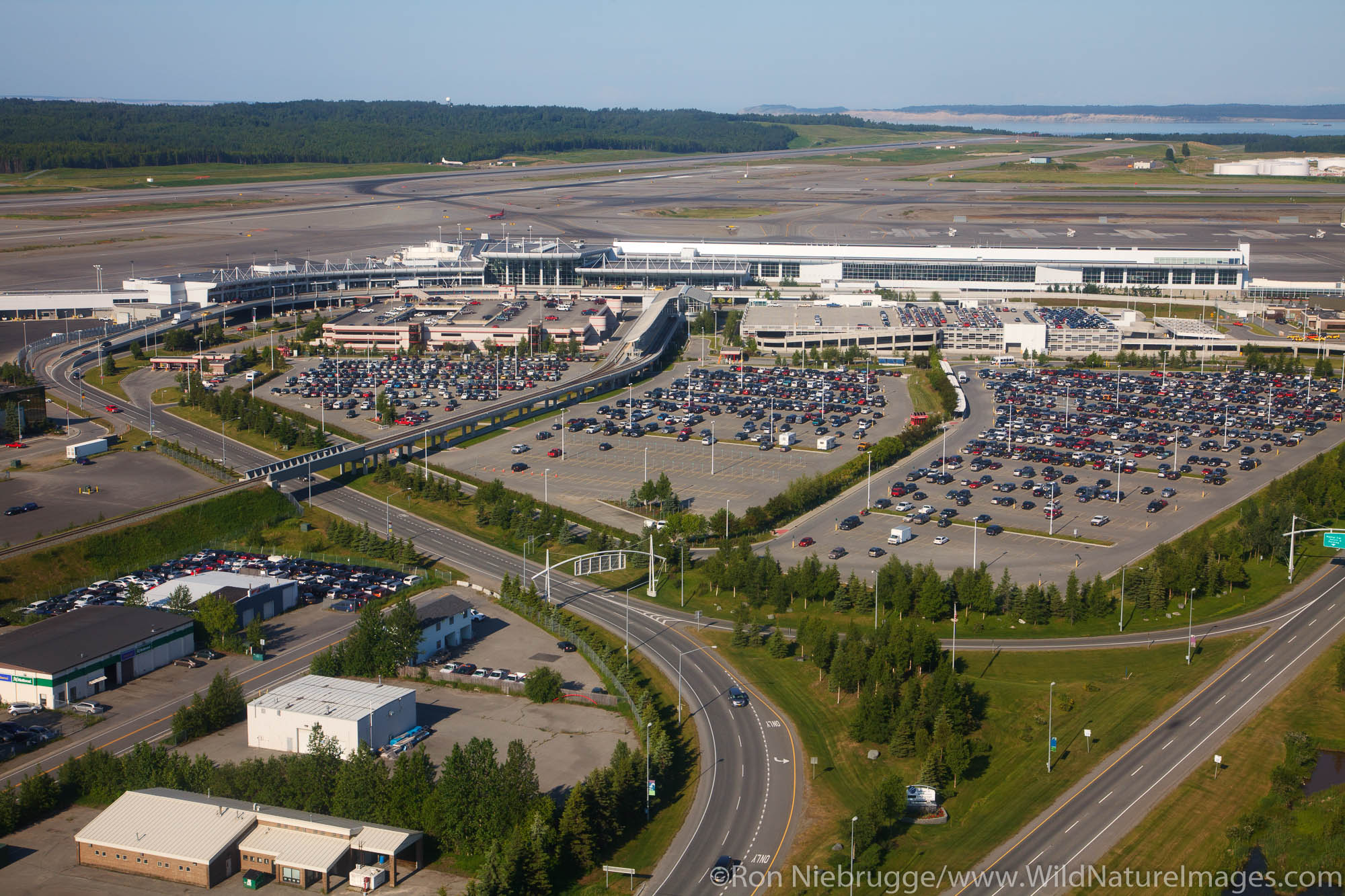 Aerial view of Ted Stevens International Airport, Anchorage, Alaska.