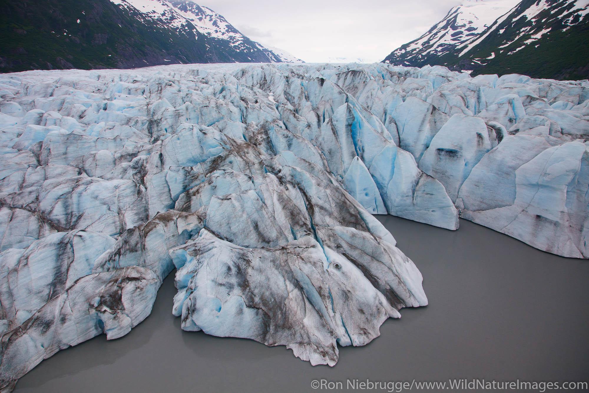 Aerial of Spencer Glacier, Chugach National Forest, Alaska.