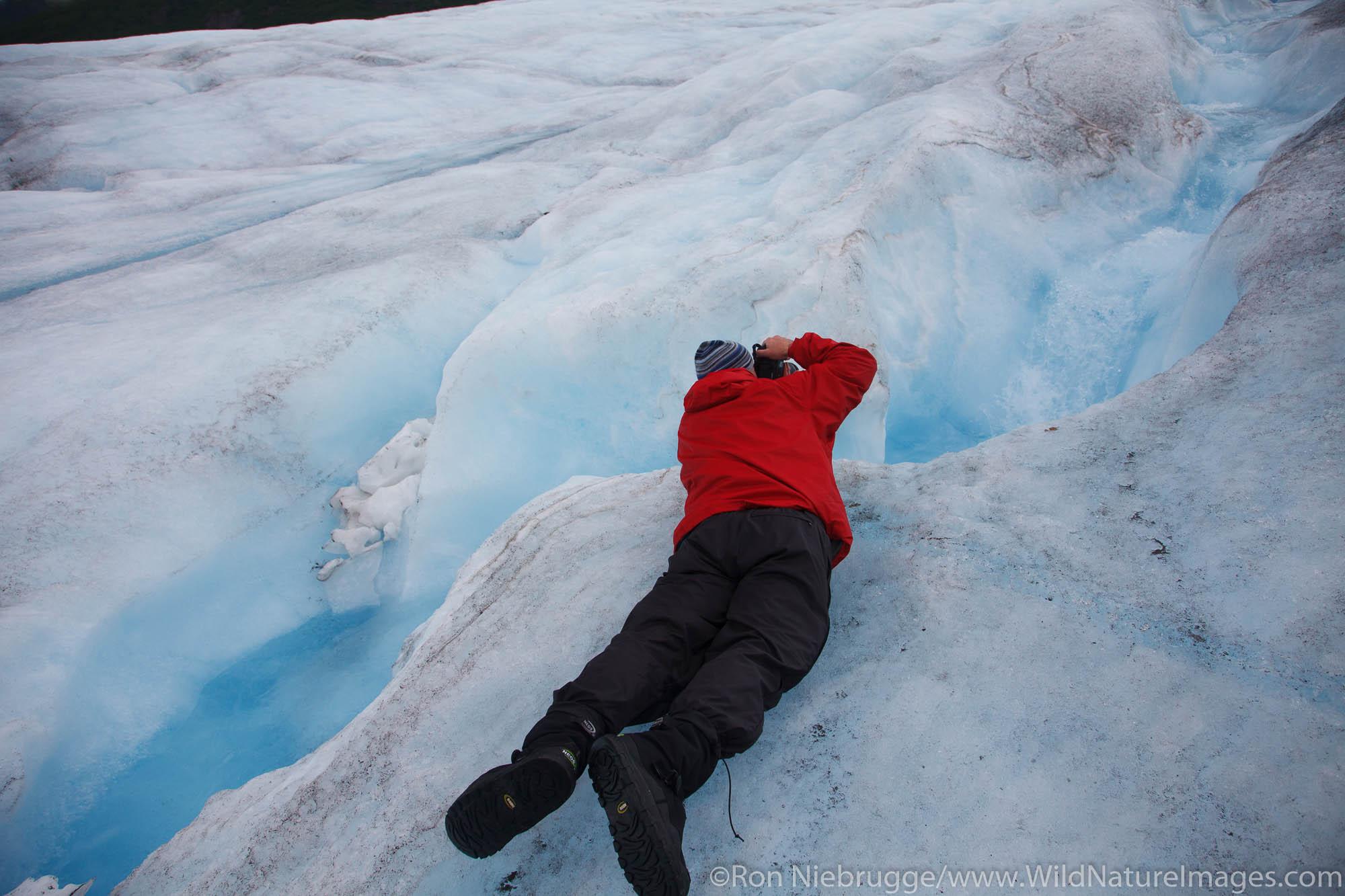 Visitor on Spencer Glacier, Chugach National Forest, Alaska.