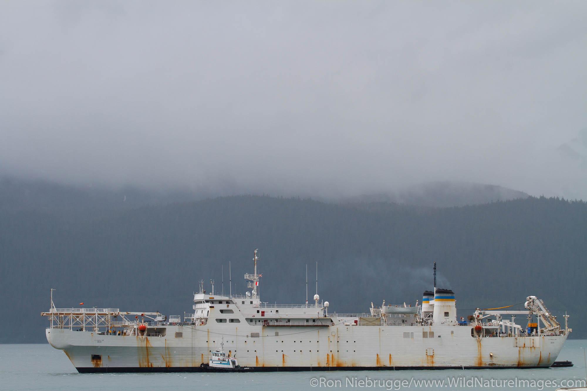 U.S. Naval Ship Zeus, Resurrection Bay, Seward, Alaska.  USNS Zeus (T-ARC-7) was the first cable ship specifically built for...