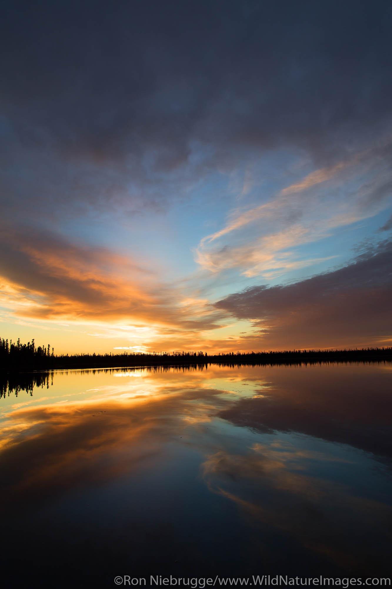 Winter sunset on Kashwitna Lake, along the Parks Highway, Alaska.