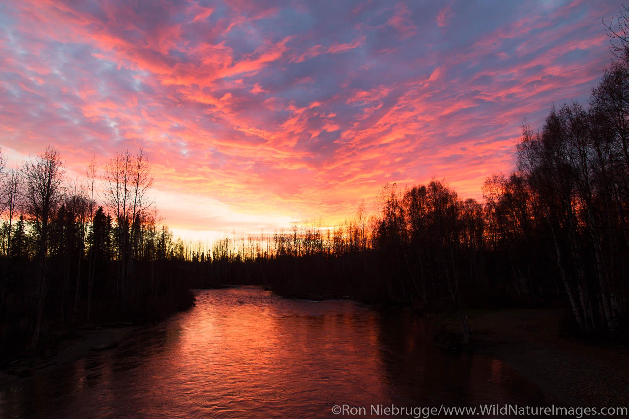Winter sunset over Sheep Creek, along the Parks Highway, Alaska.