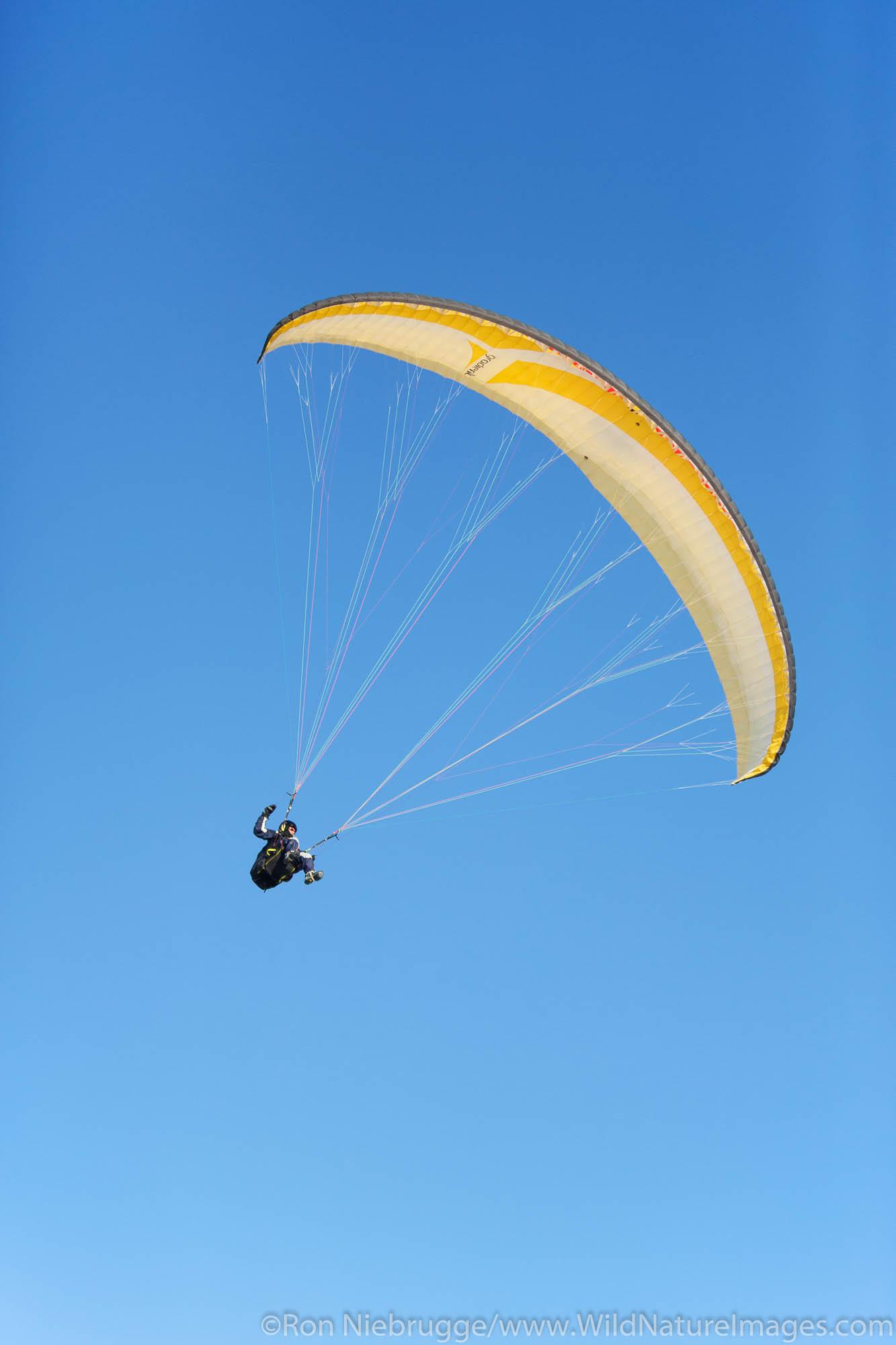 Paraglider  in Chugach State Park, near Anchorage, Alaska.