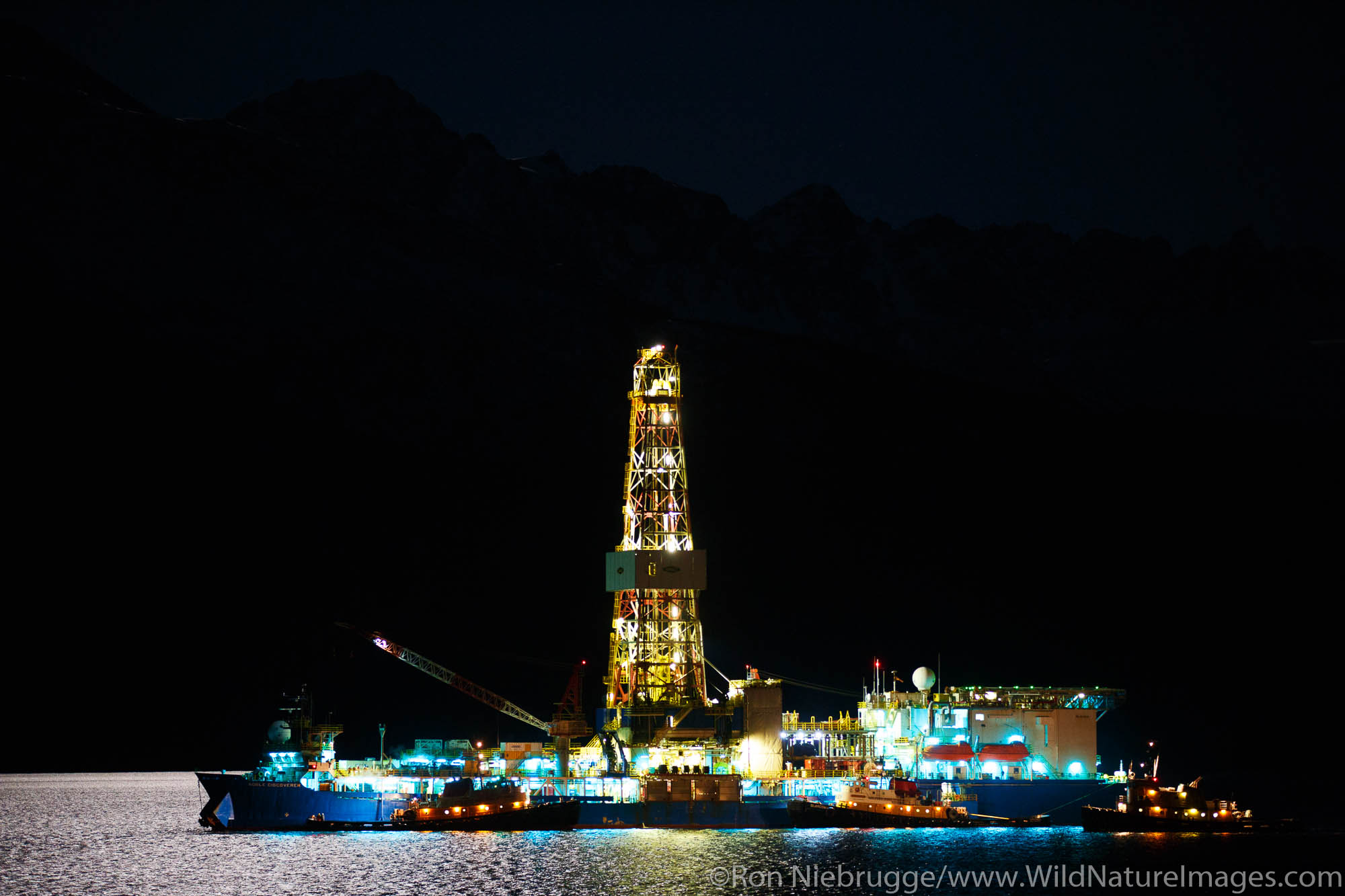 Shell drilling rig Noble Discovery, Resurrection Bay, Seward, Alaska.