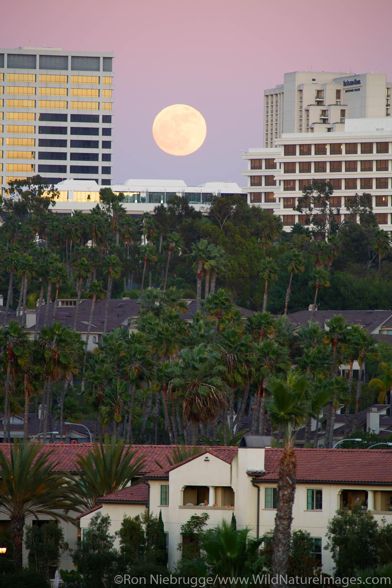 Full moon over Fashion Island, Newport Beach, Orange County, California.