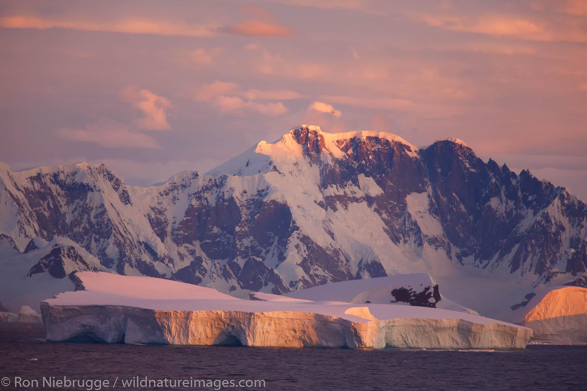 Massive icebergs near the Antarctic Circle, Antarctica.