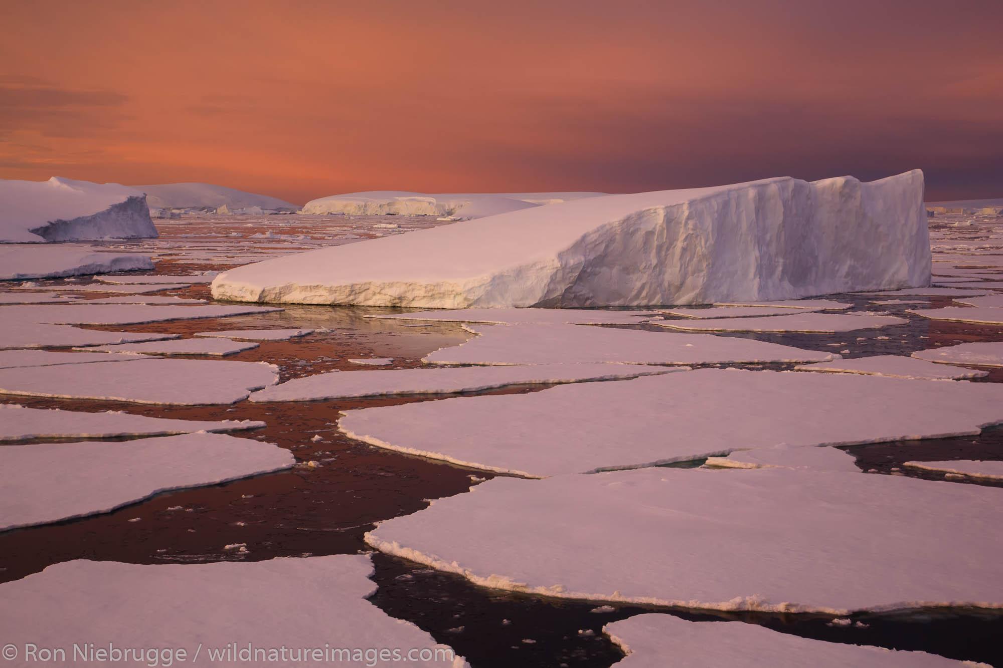 Sunset / sunrise as we travel below the Antarctic Circle, Antarctica.