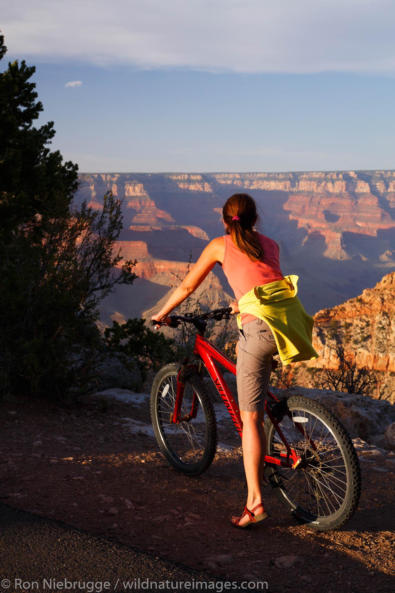 Biking the Rim Trail, Grand Canyon National Park, Arizona. (model released)