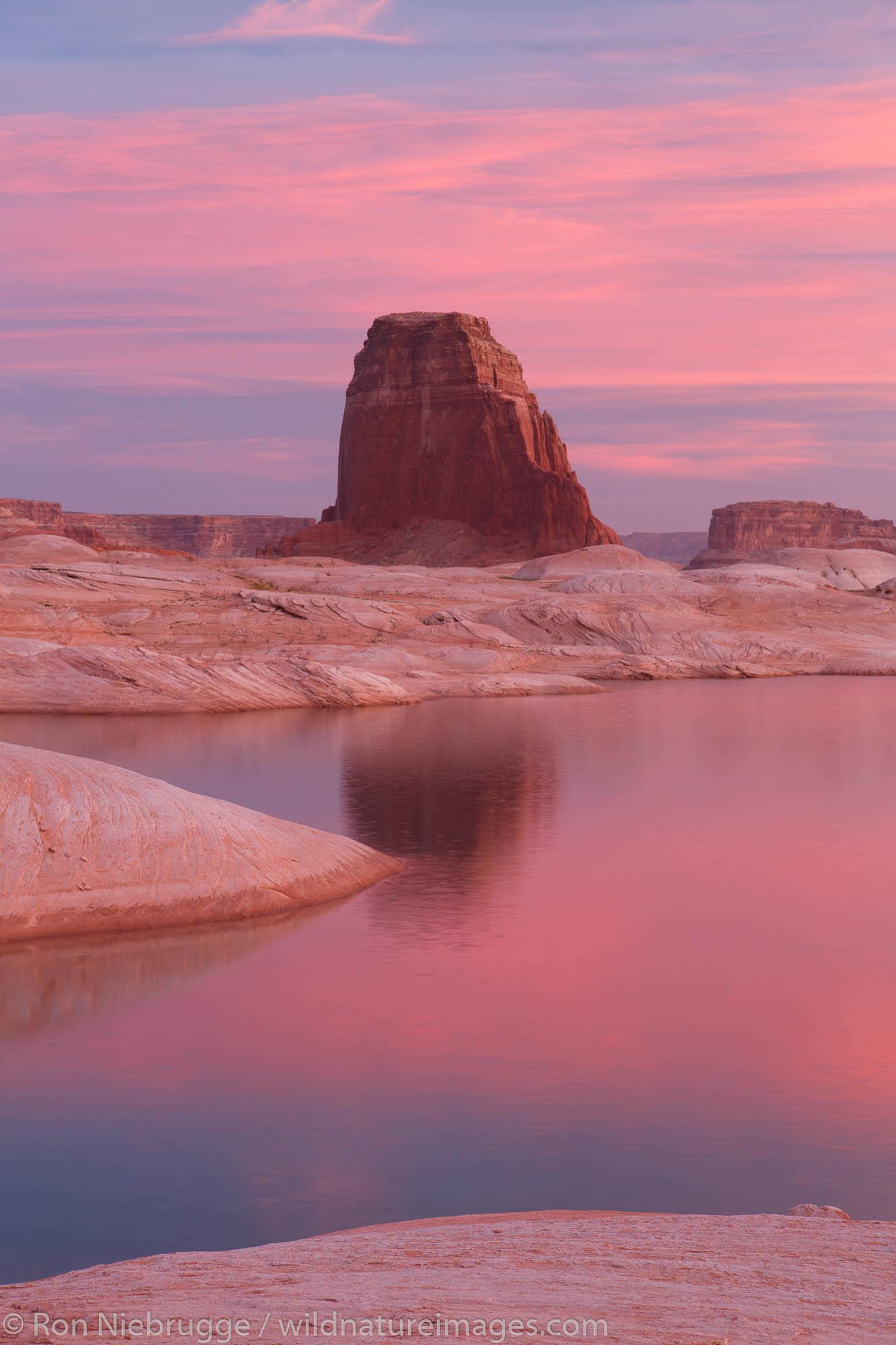 West Canyon at sunrise Lake Powell Glen Canyon National Recreation Area Page Arizona.