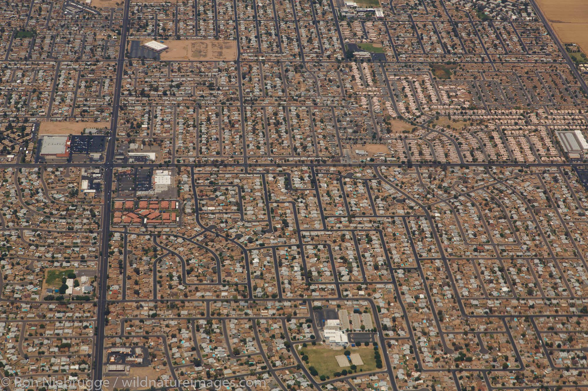 Phoenix area from the air, Arizona.