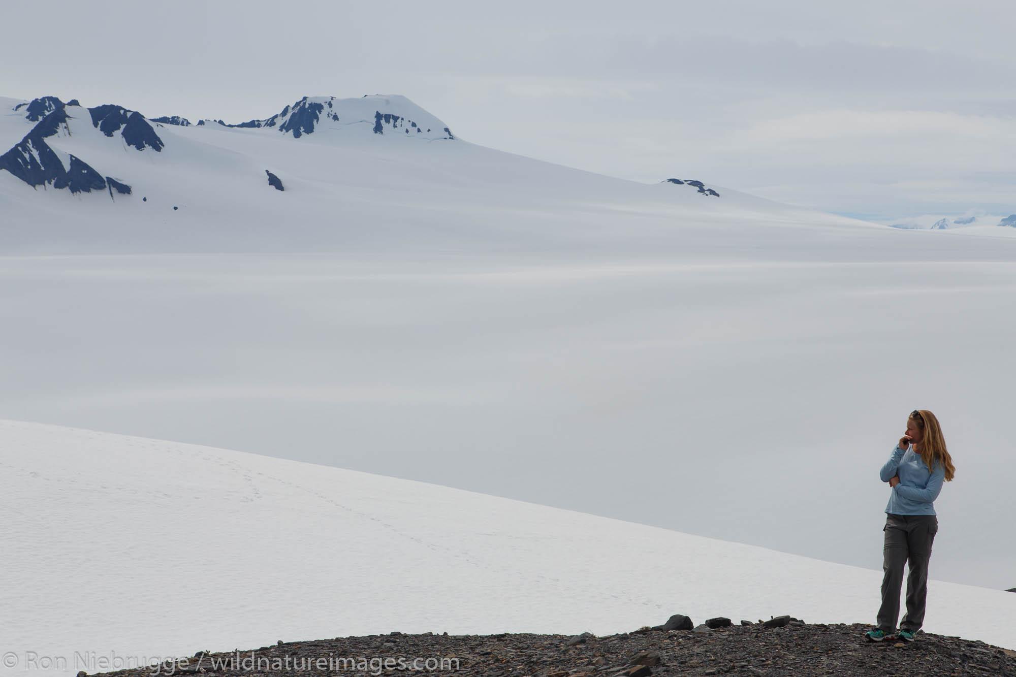 Hiker on the Harding Icefield Trail along Exit Glacier, Kenai Fjords National Park, near Seward, Alaska.