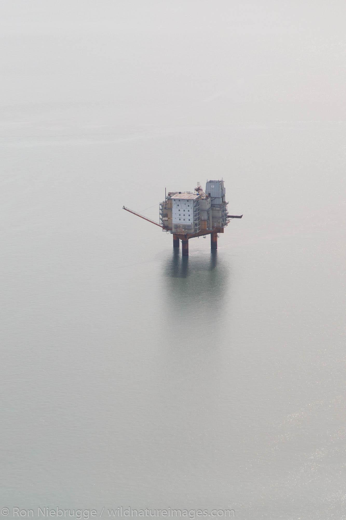 Aerial of oil rig in Cook Inlet, Alaska.