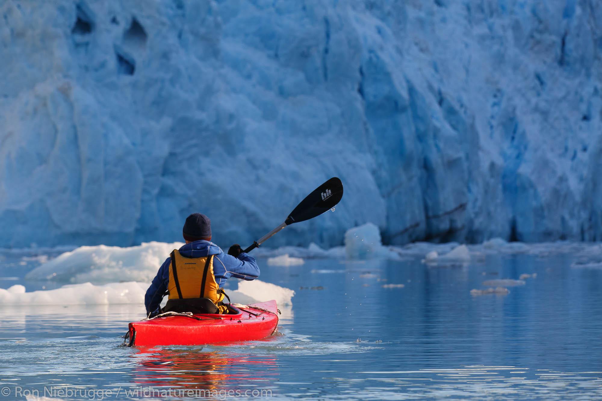 Kayaking in front of Barry Glacier, Harriman Fjord, Prince William Sound, Chugach National Forest, Alaska.