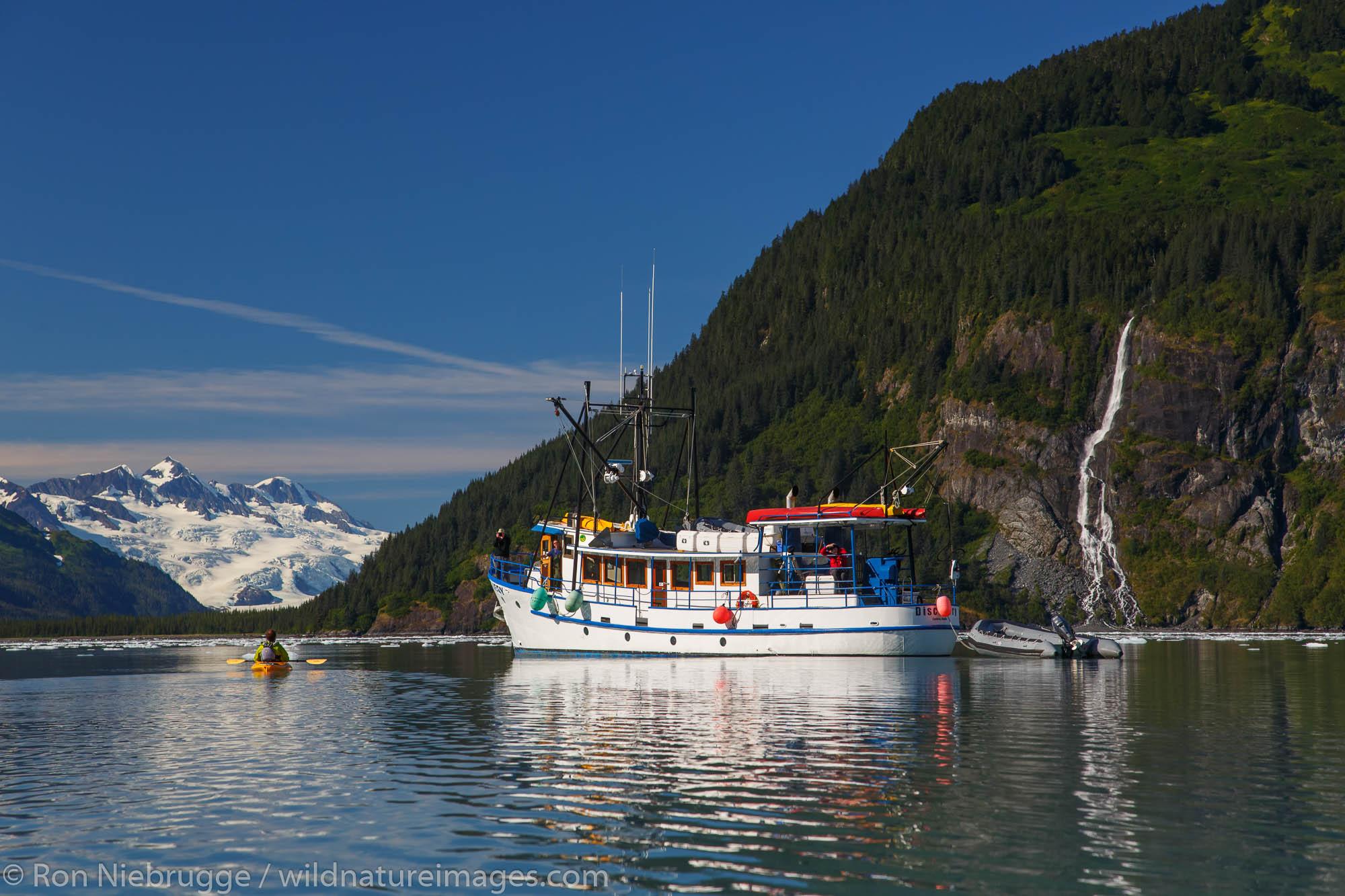 Kayaking in Harriman Fjord, Prince William Sound, Chugach National Forest, Alaska.