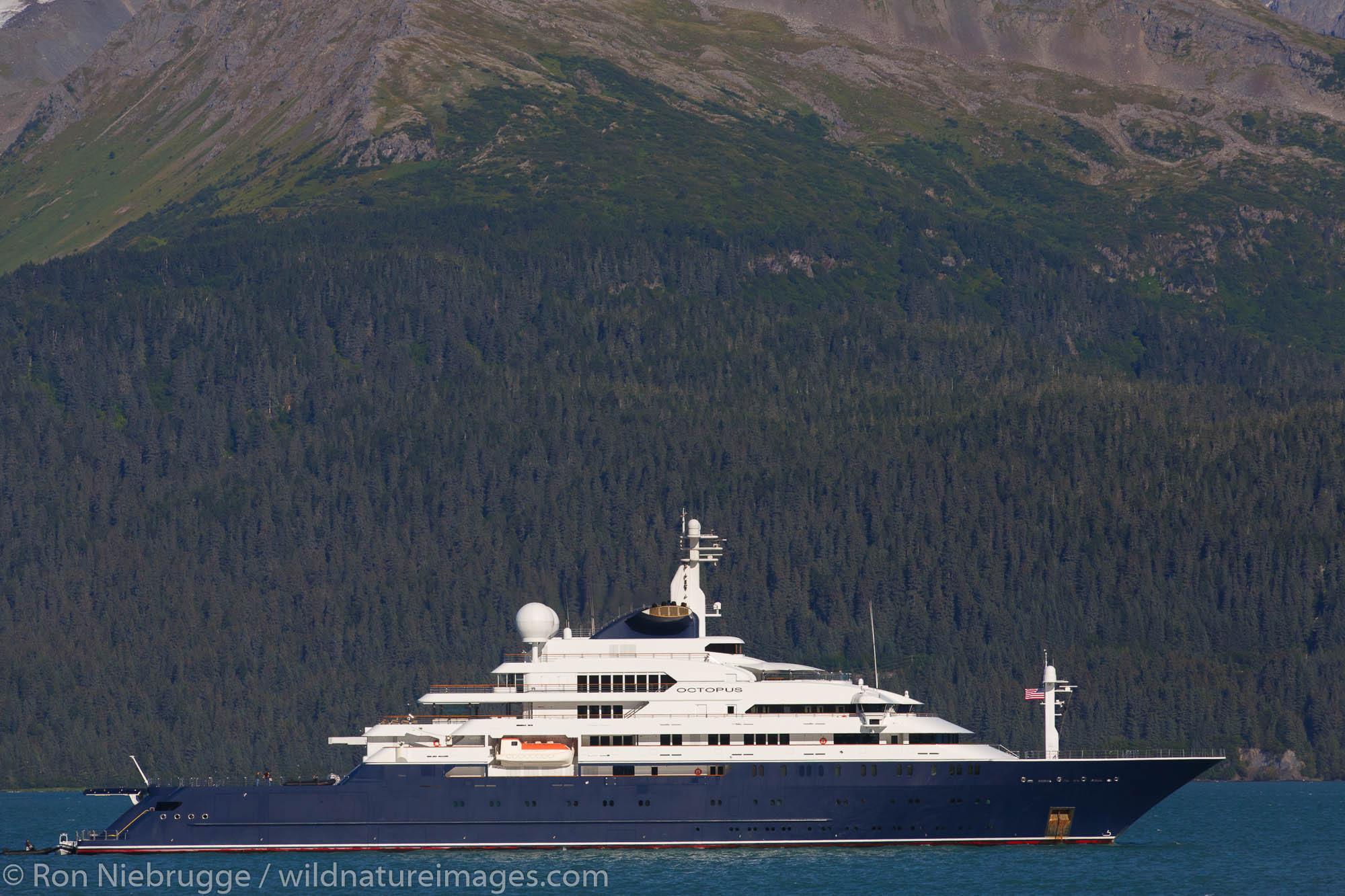 The yacht Octopus owned by Paul Allen, in Resurrection Bay, Seward, Alaska.