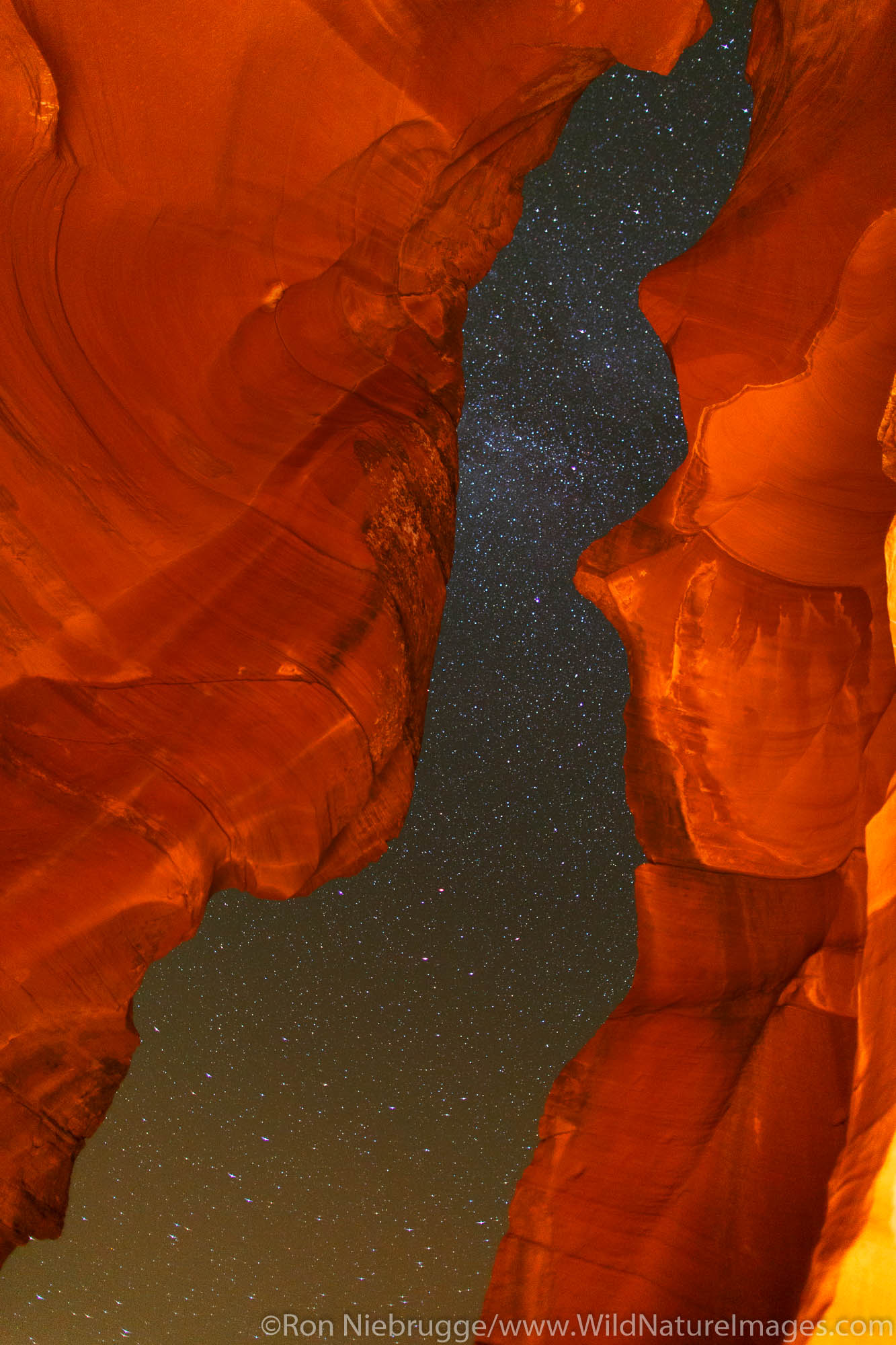 Night sky in Upper Antelope Slot Canyon, Navajo Park Land, Page, Arizona.