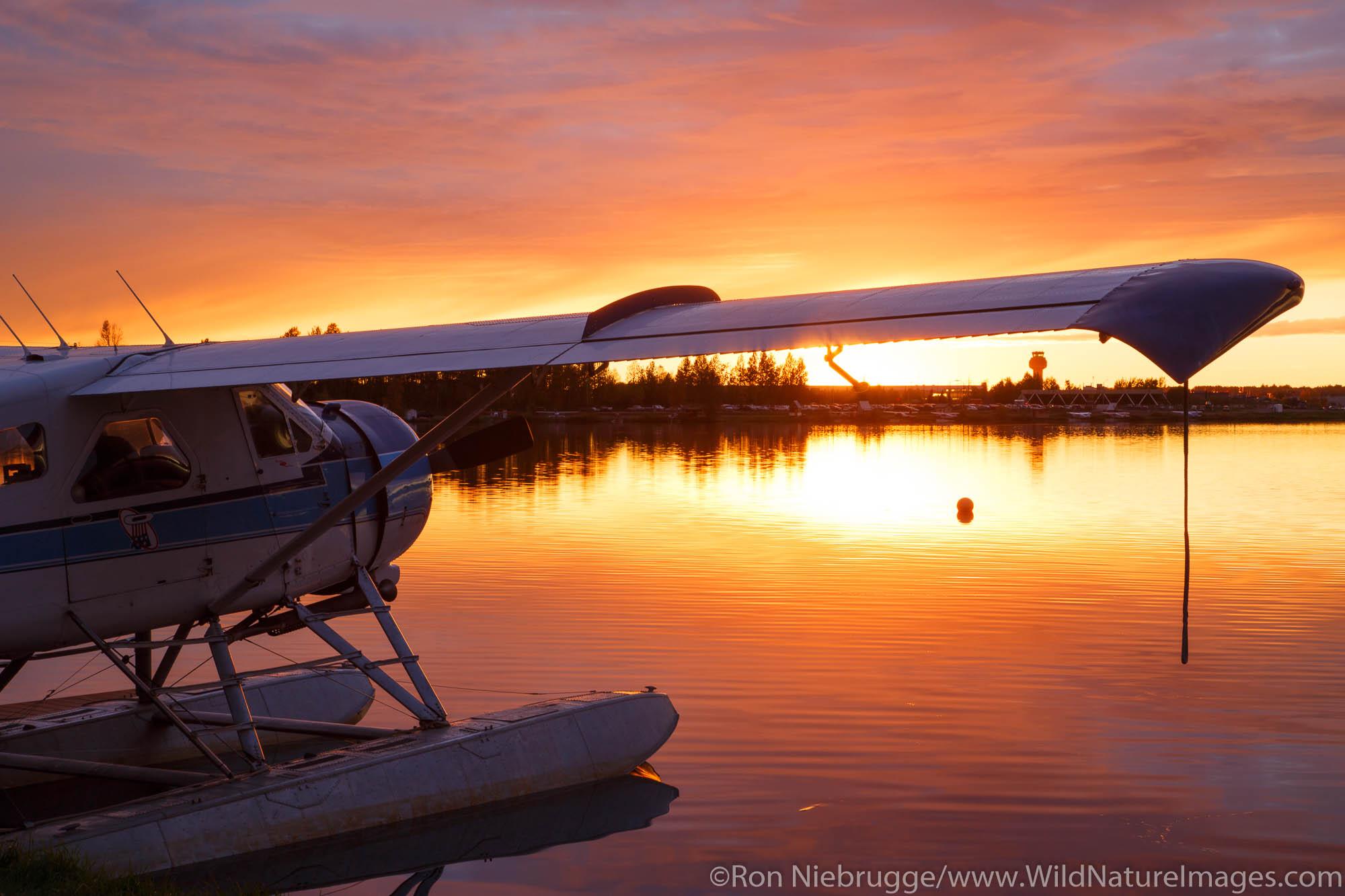 Float planes on Lake Hood, Anchorage, Alaska.