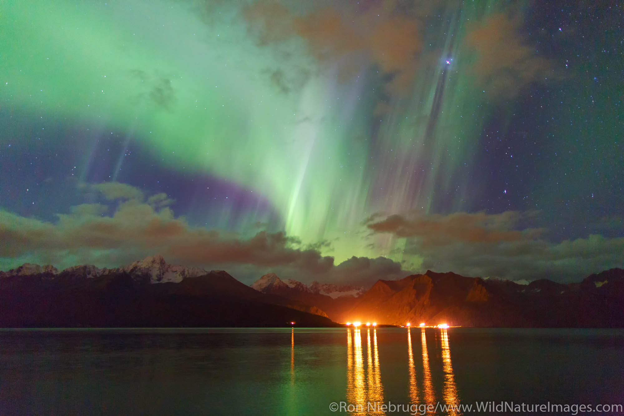Aurora borealis over Resurrection Bay, Seward, Alaska