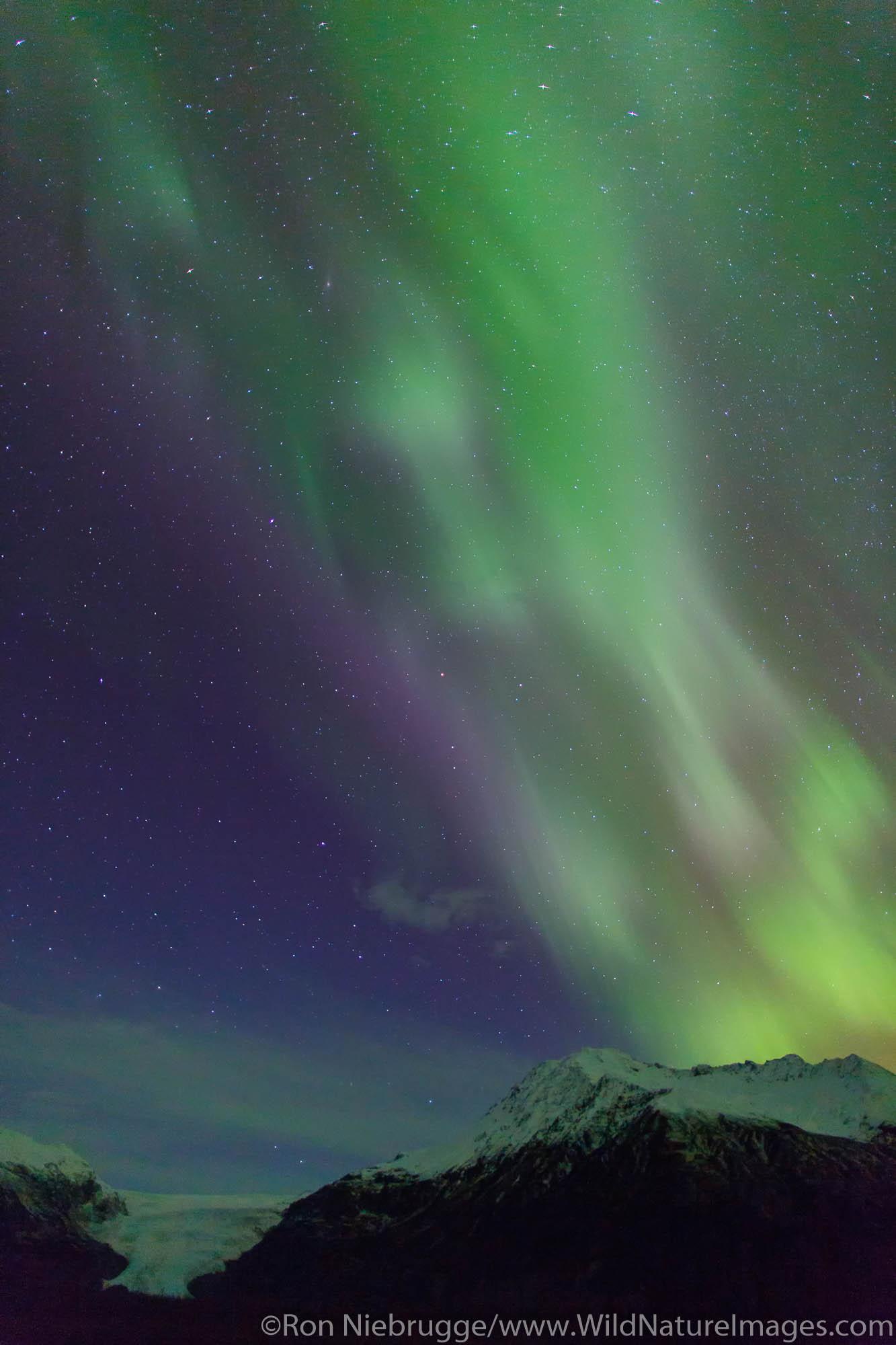 Aurora borealis over Exit Glacier, Kenai Fjords National Park, near Seward, Alaska.