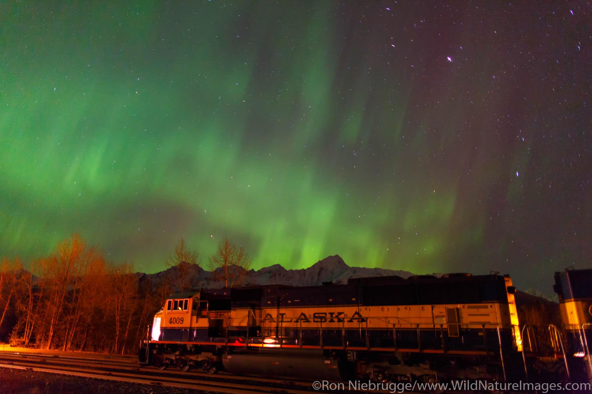 Aurora borealis over the Alaska Railroad, Seward, Alaska.