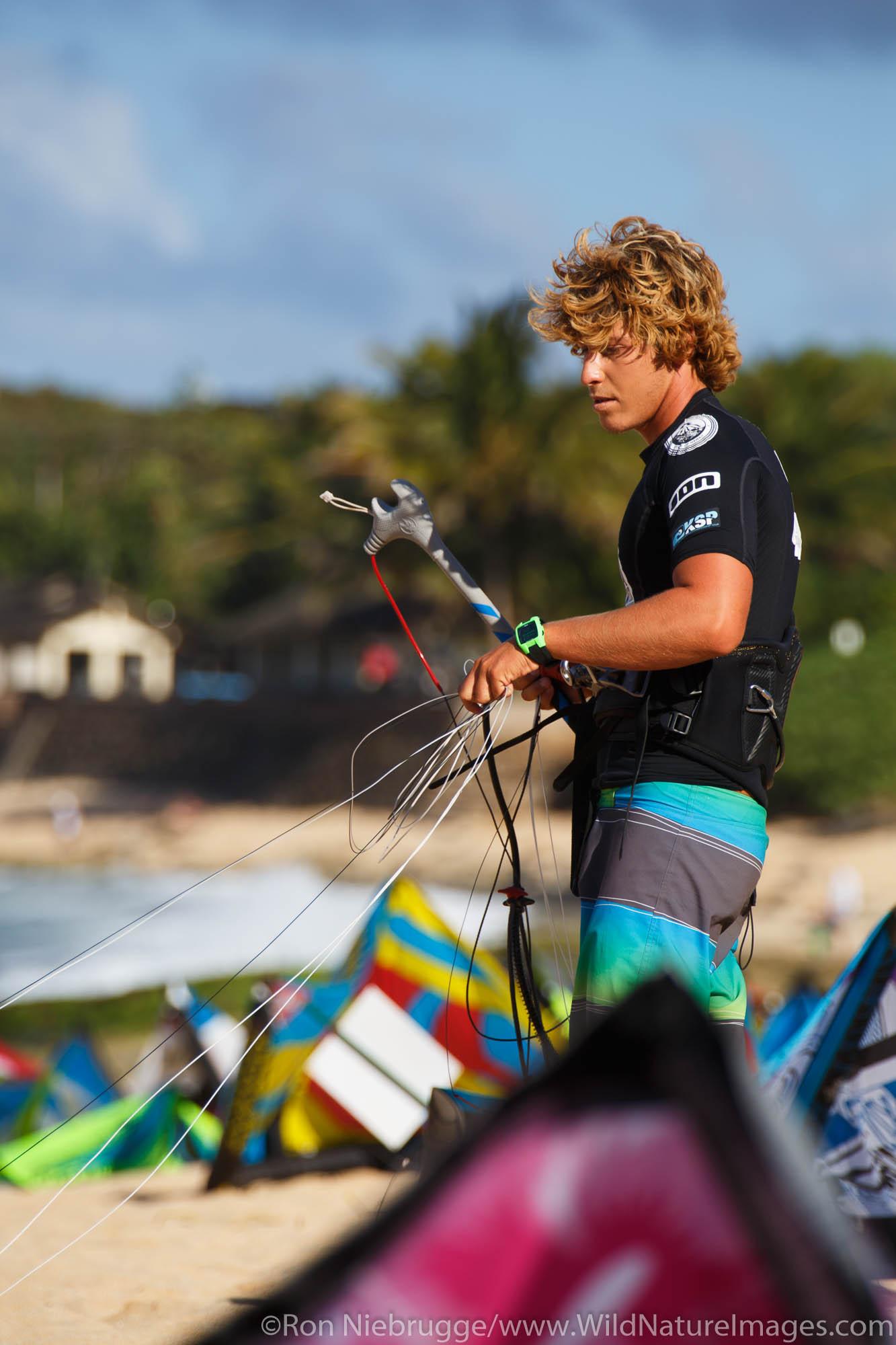 Keahi DeAboitiz, winner of the the 2013 Kite Surf Pro World Championships held nearby at Ho'okipa Beach, Maui, Hawaii.