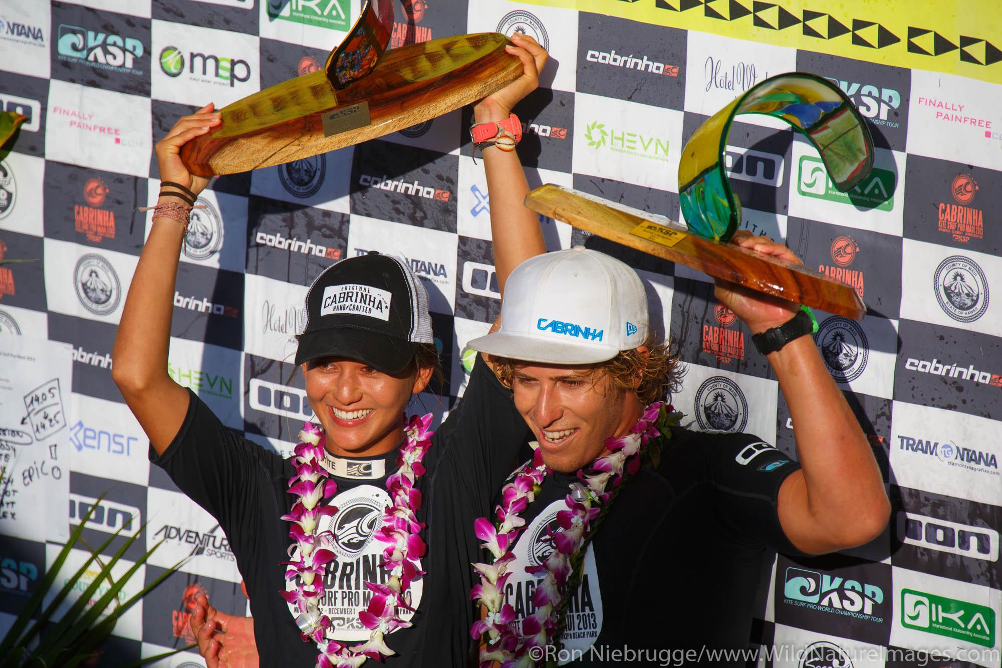 2013 World Champions. Moona Whyte (from Hawaii) and Keahi DeAboitiz (Australia) at the 2013 Kite Surf Pro World Championships...