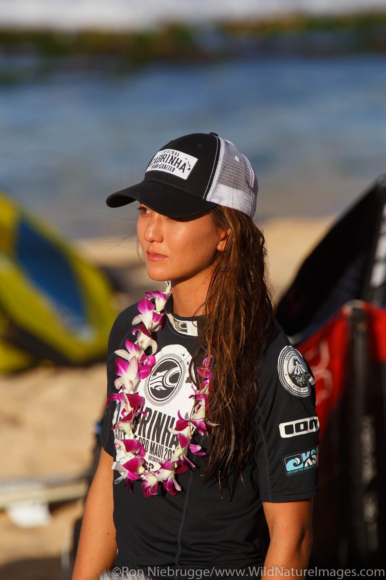 Moona Whyte who was crowned world champion at the 2013 Kite Surf Pro World Championships held nearby at Ho'okipa Beach, Maui...