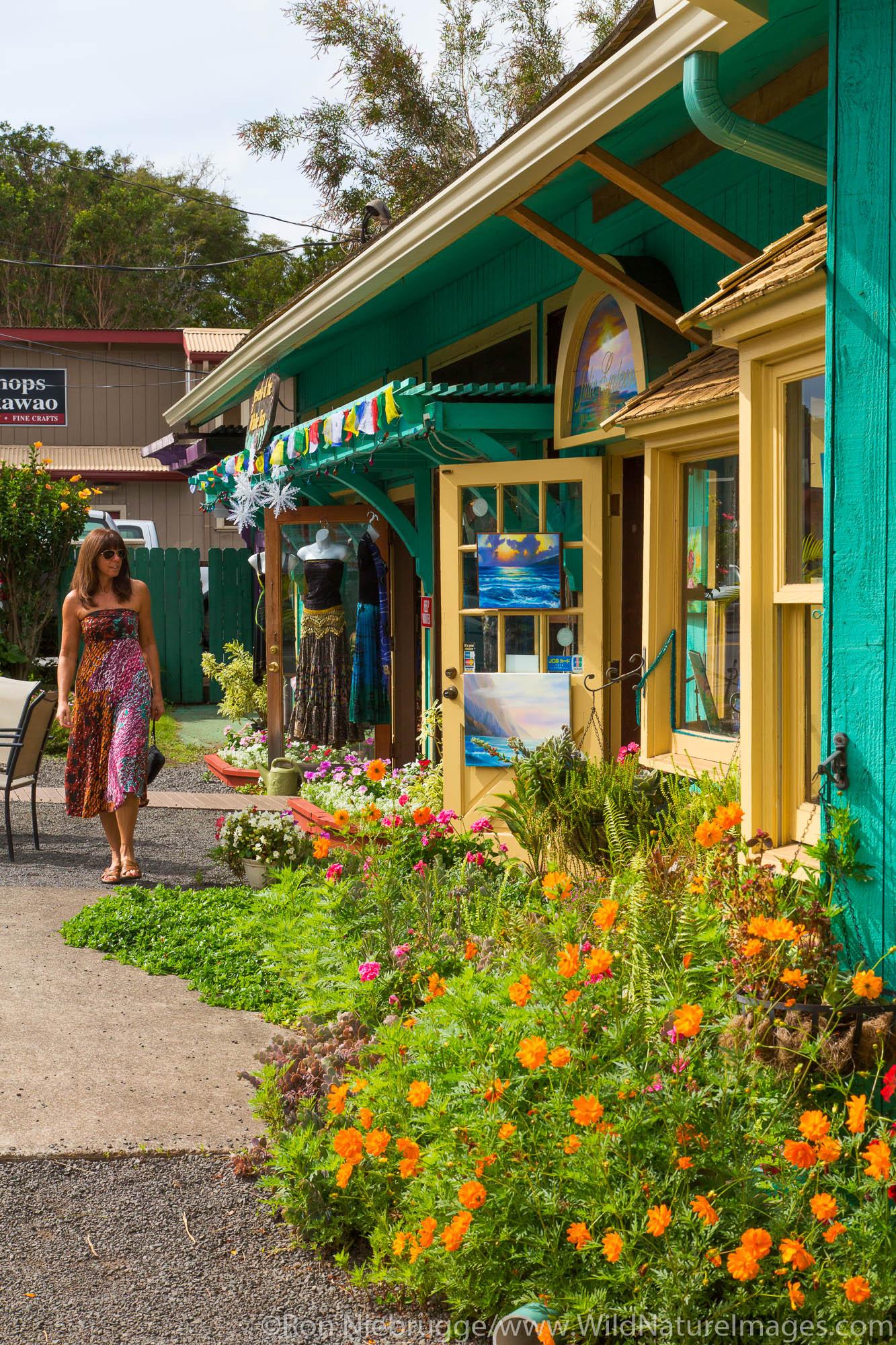 A visitor shopping in Makawao, Maui, Hawaii.  (model released)