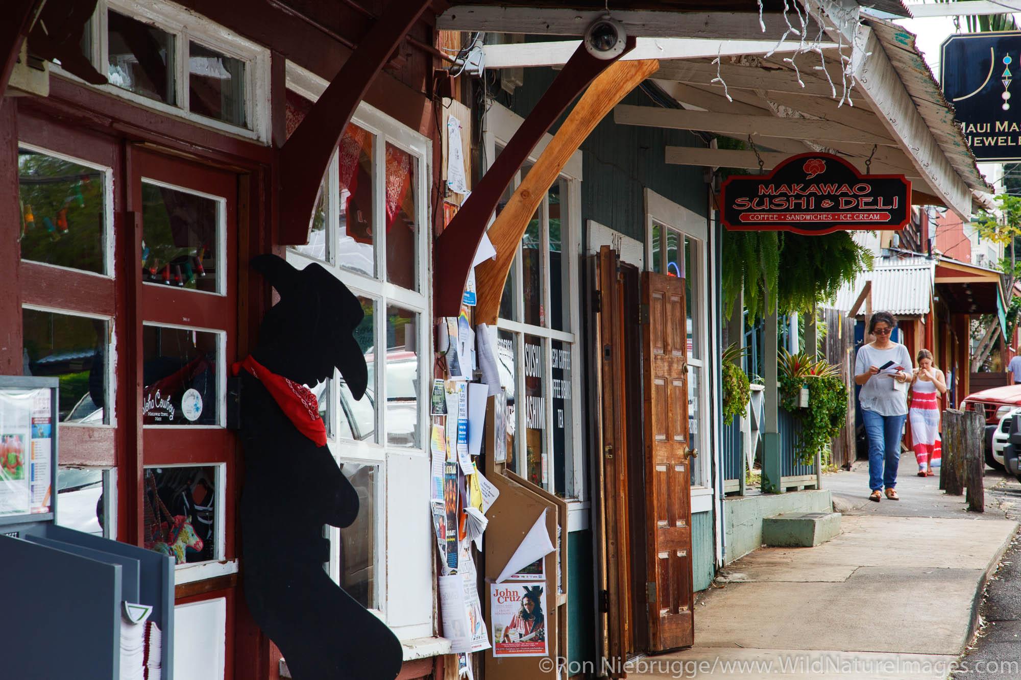 Shops in Makawao, Maui, Hawaii.