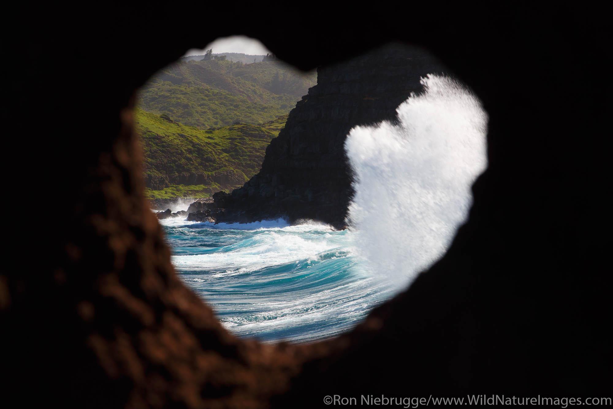 Heart shaped rock, Nakalele Point, Maui, Hawaii.
