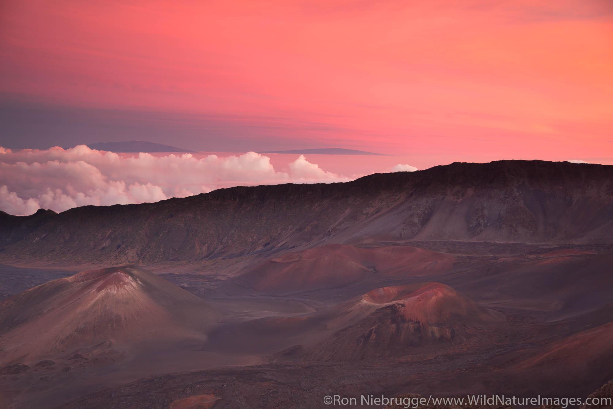 Sunset at the crater of Haleakala, Haleakala National Park, Maui, Hawaii.