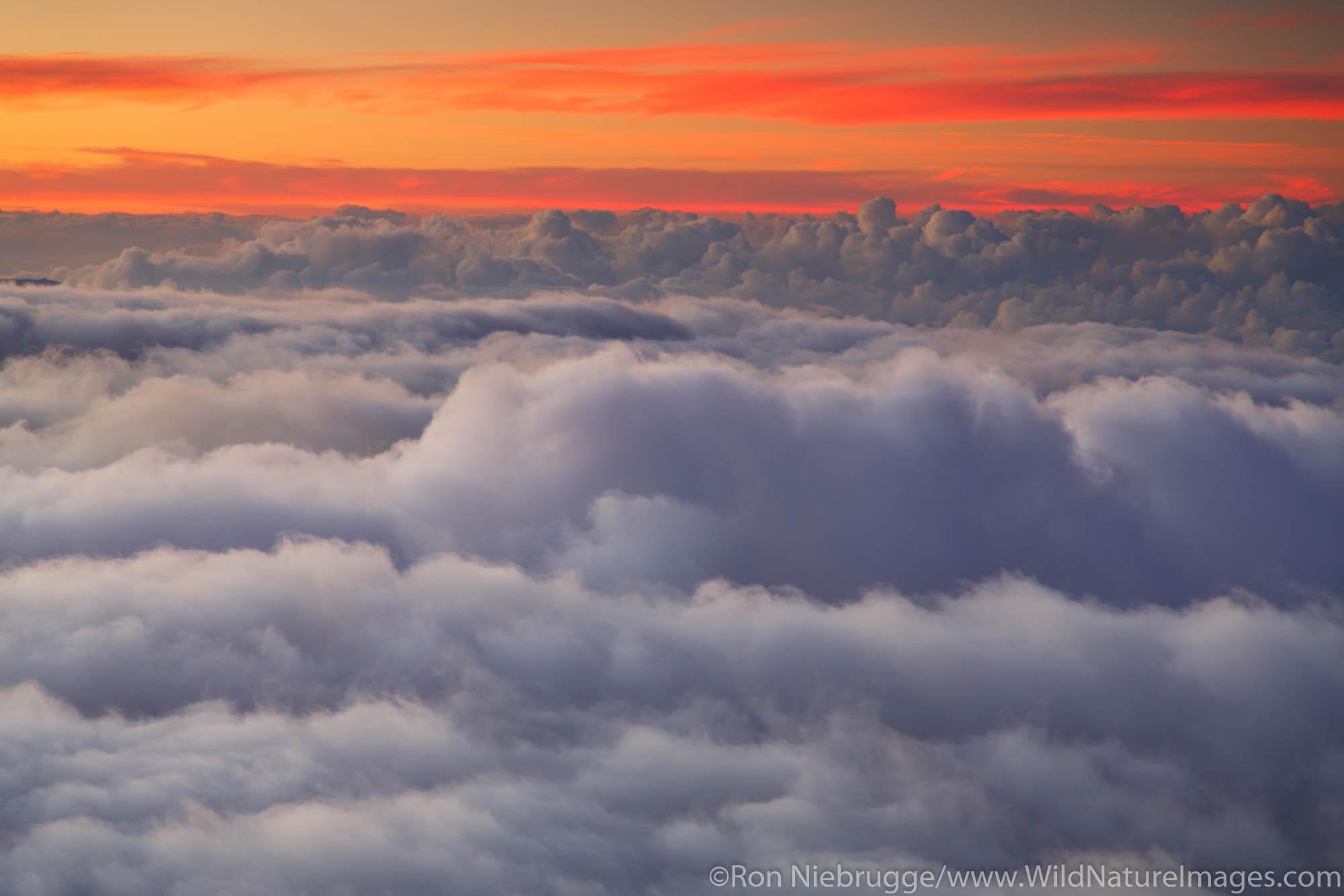 Clouds at sunset from near the top of Haleakala, Haleakala National Park, Maui, Hawaii.