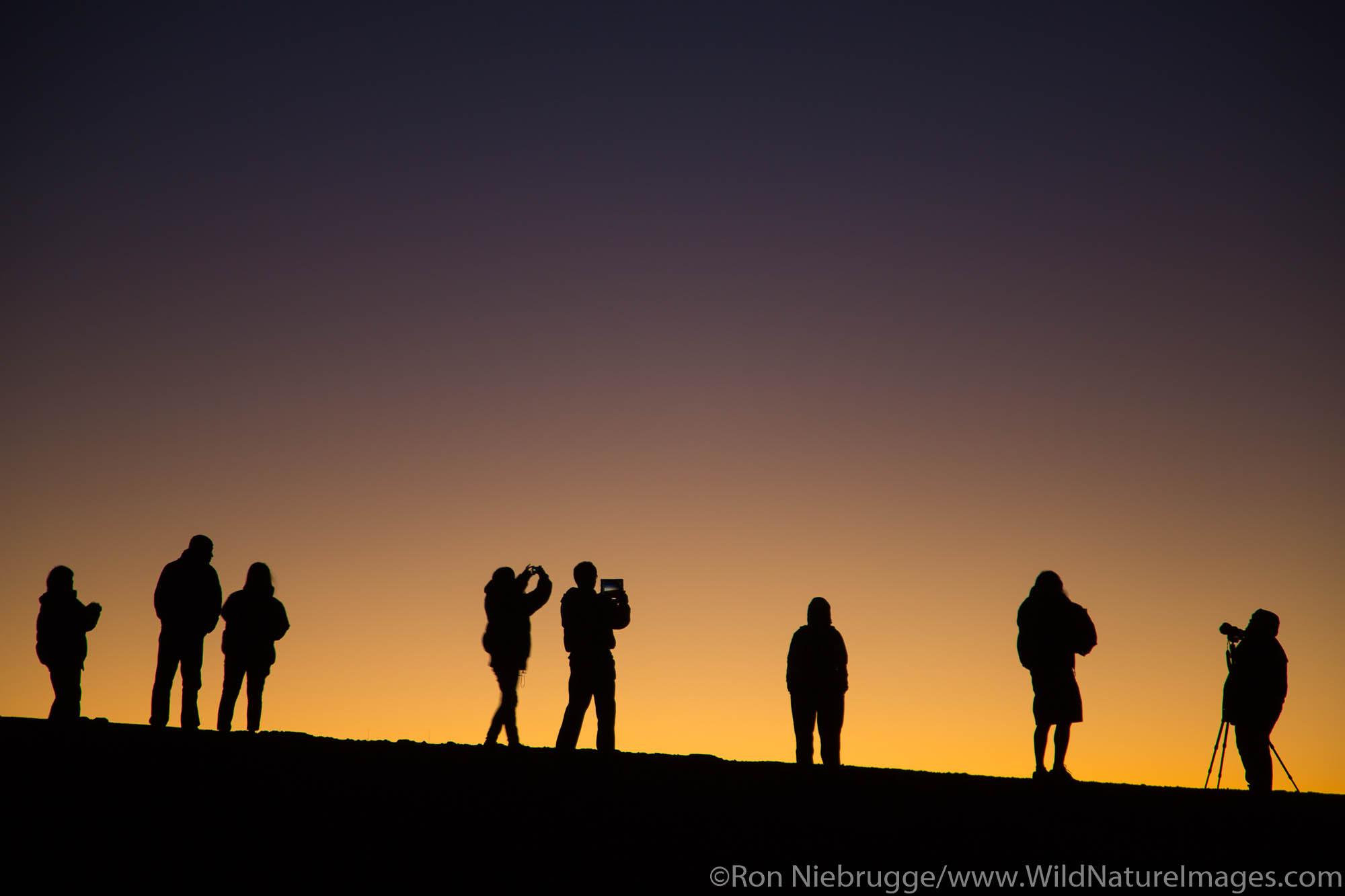 Visitors watching the sunset and stars from near the top of Haleakala, Haleakala National Park, Maui, Hawaii.
