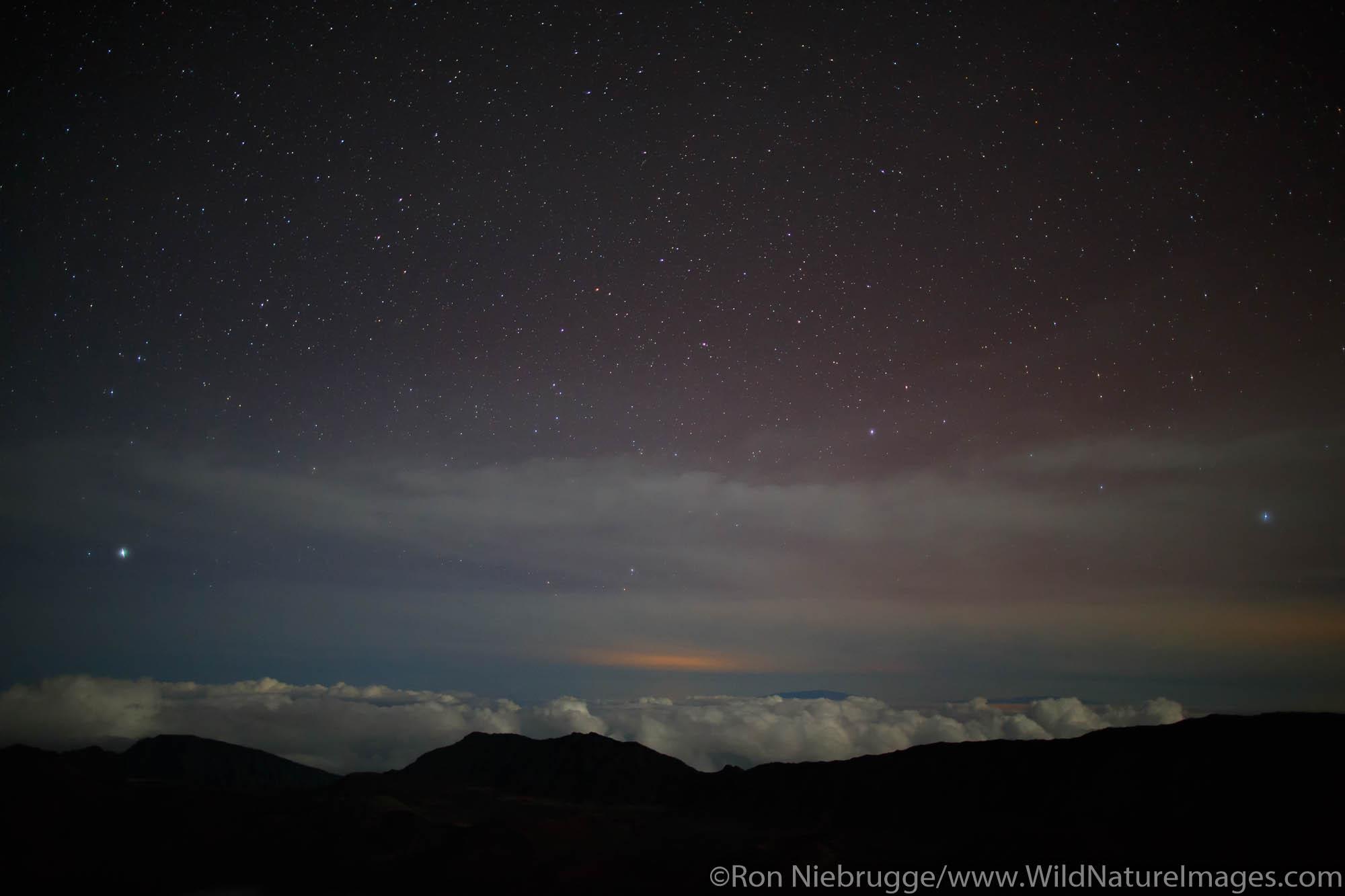 Stars from near the top of Haleakala, Haleakala National Park, Maui, Hawaii.